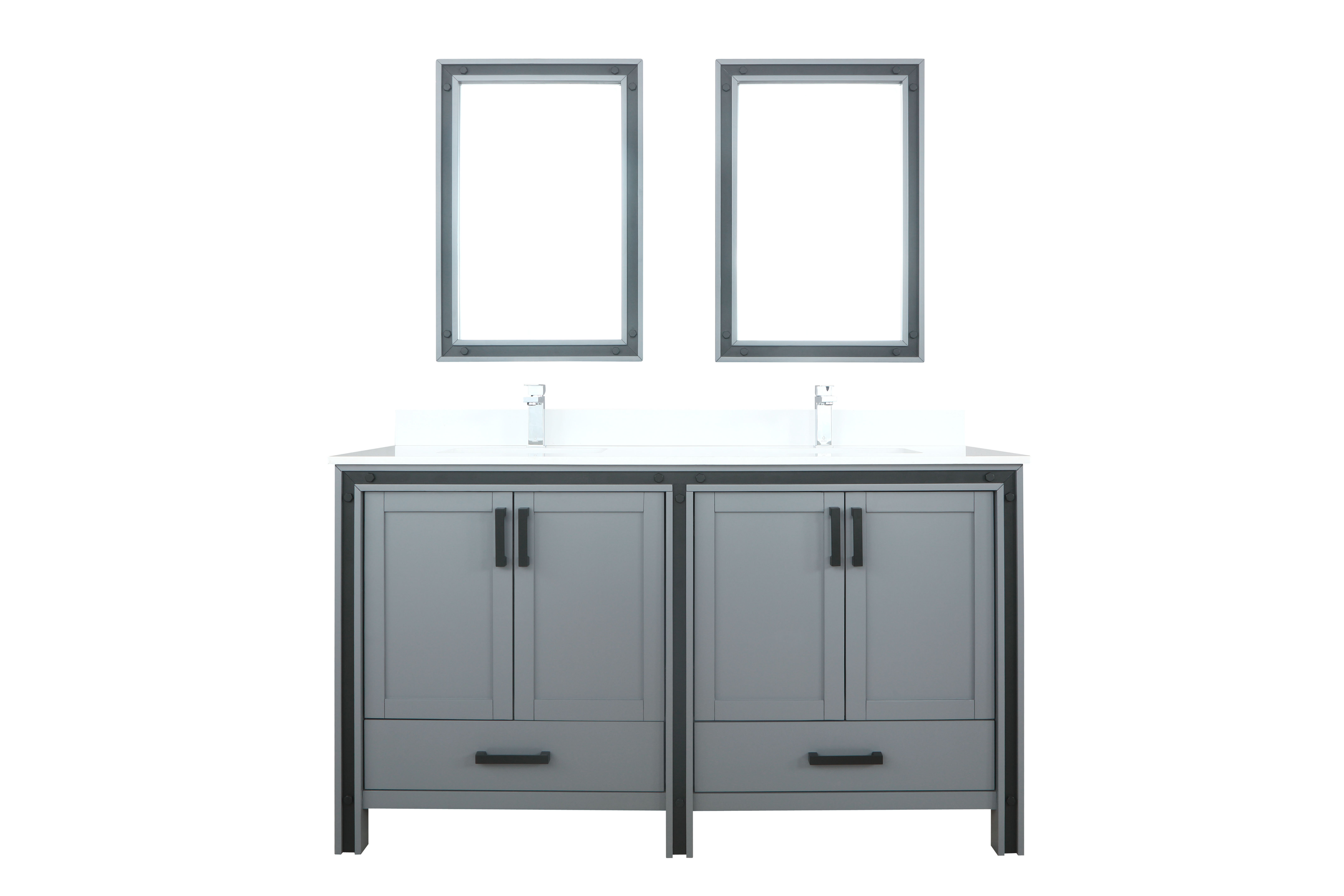 """60"""" Dark Grey Vanity Bathroom Cabinet Only with Countertop and Mirror Options"""