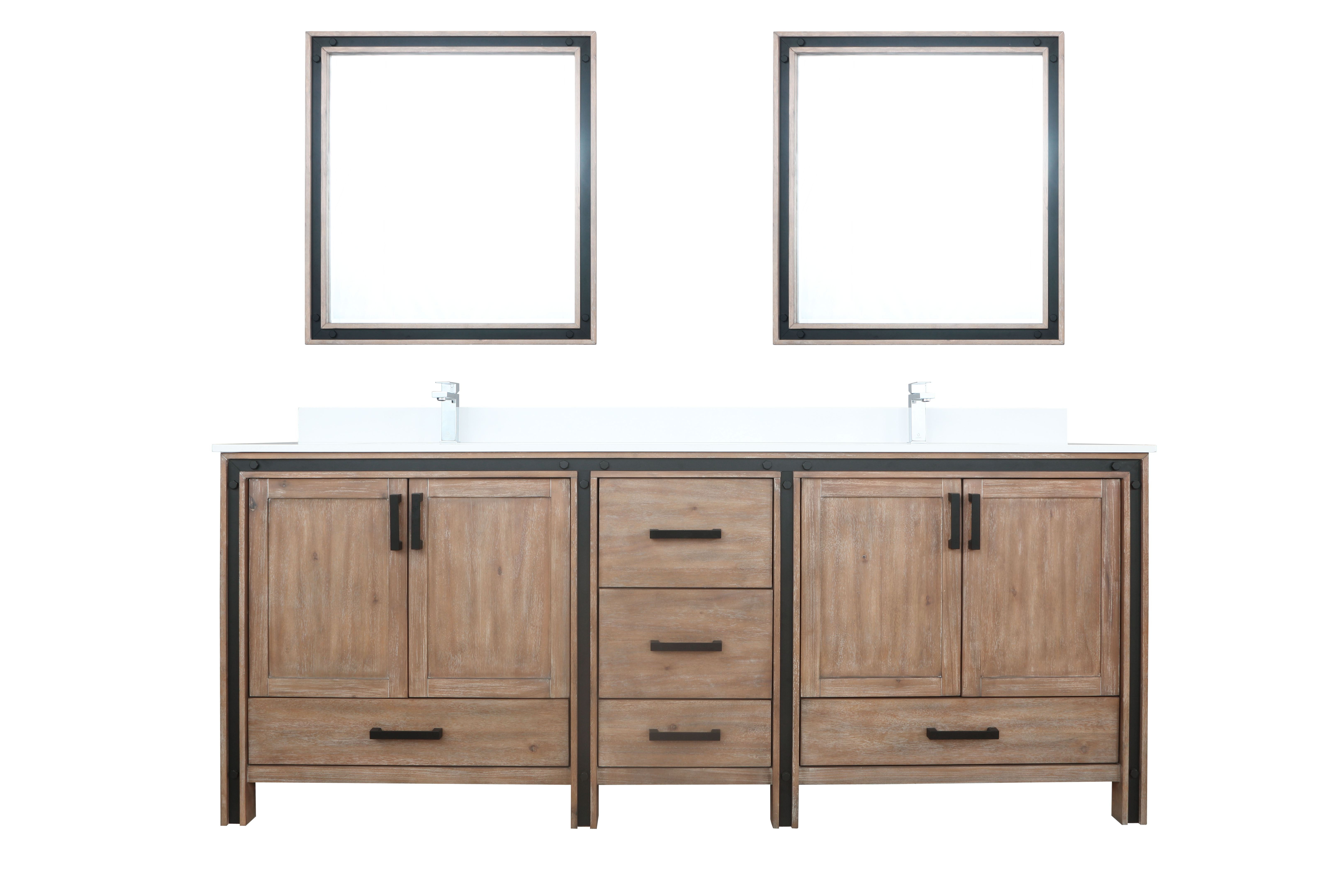 """84"""" Rustic Barnwood Vanity Bathroom Cabinet Only with Countertop and Mirror Options"""