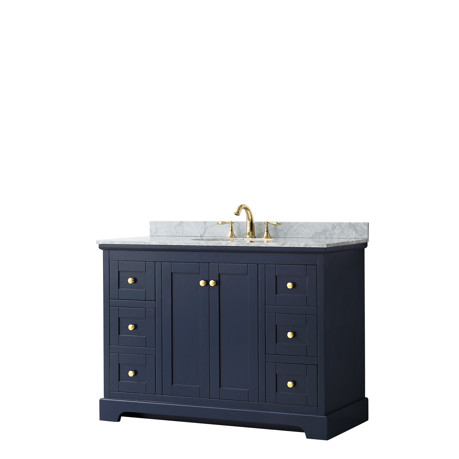 "48"" Single Bathroom Vanity in Dark Blue, No Countertop, No Sink, and No Mirror"