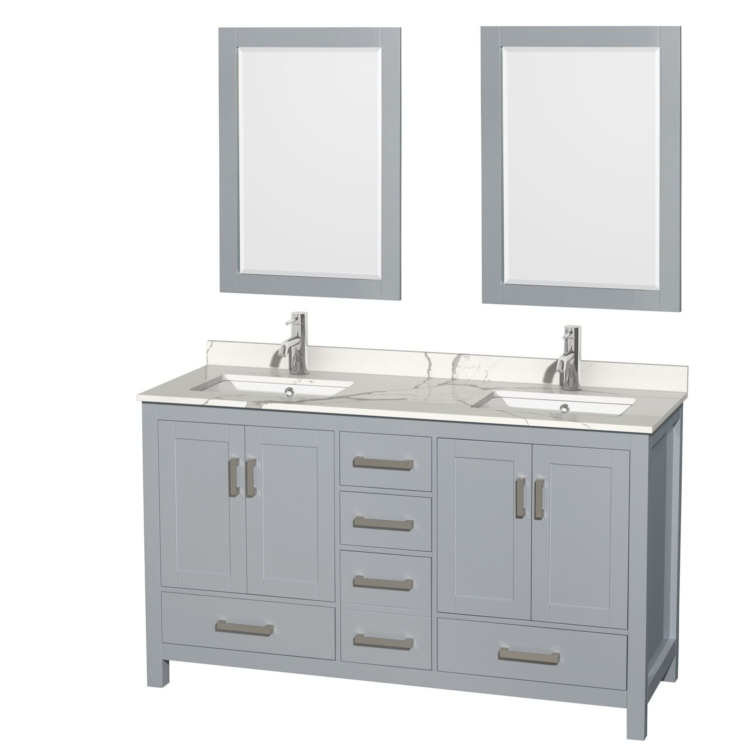 "60"" Double Bathroom Vanity with Color, Countertop, Mirror and Medicine Cabinet Options"
