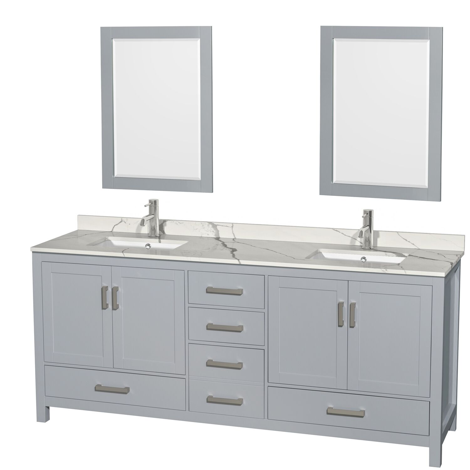 "80"" Double Bathroom Vanity with Color, Countertop, Mirror and Medicine Cabinet Options"