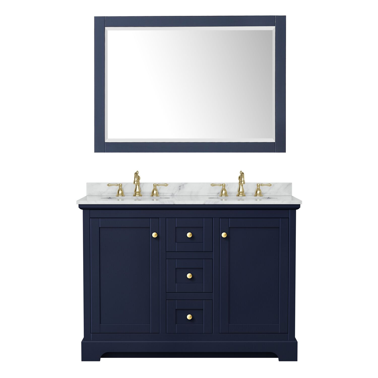"48"" Double Bathroom Vanity in Dark Blue with Countertop, Sinks and Mirror Options"