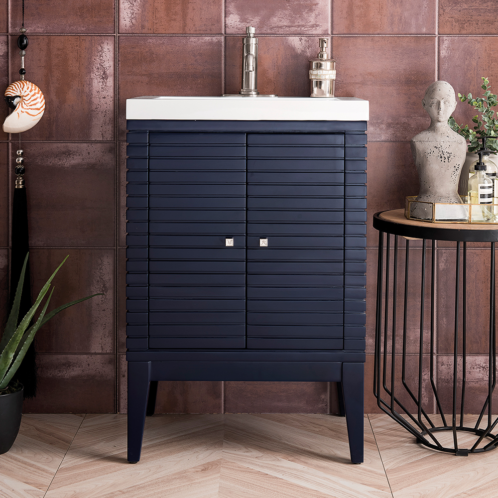 "James Martin Linden Collection 24"" Single Vanity Cabinet, Navy Blue"