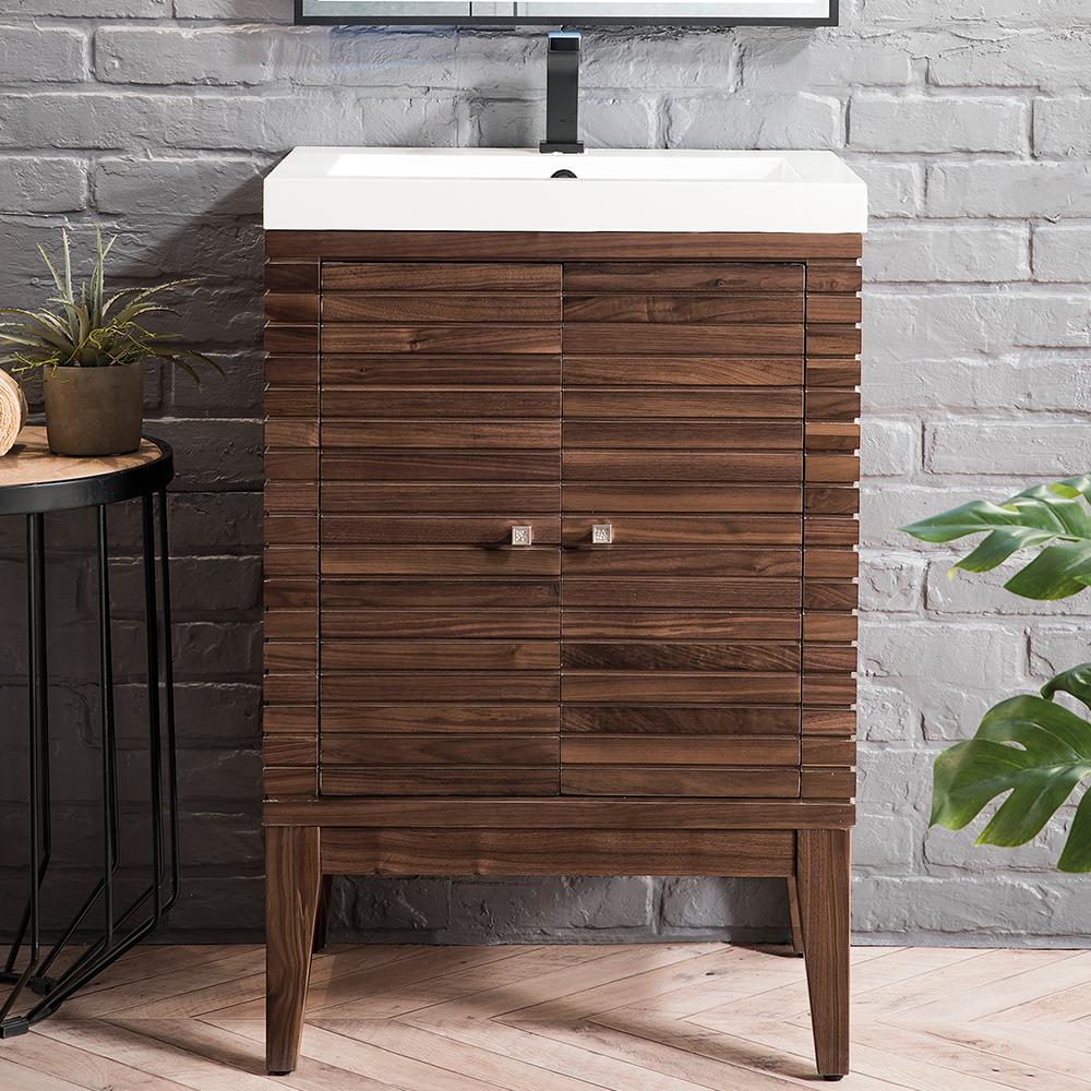 "James Martin Linden Collection 24"" Single Vanity Cabinet, Mid Century Walnut"