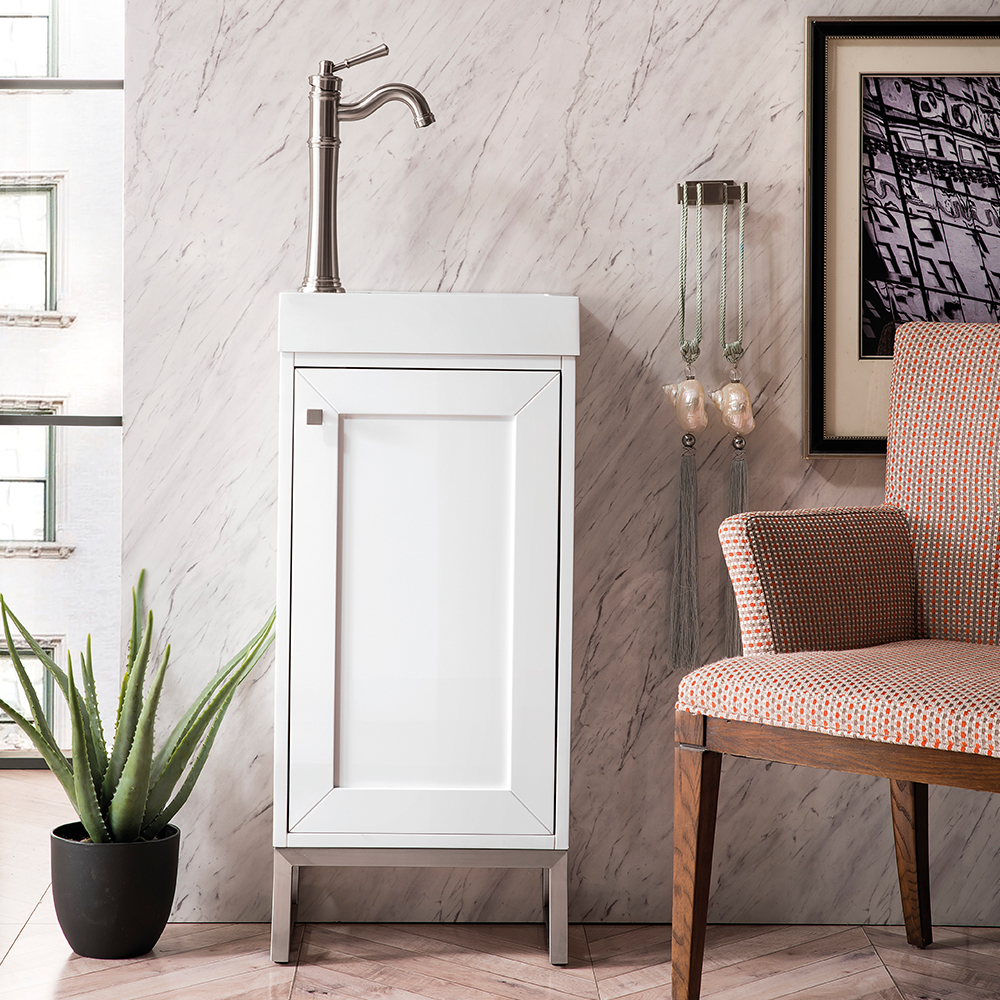 """James Martin Chianti Collection 16"""" Single Vanity Cabinet, Glossy White"""