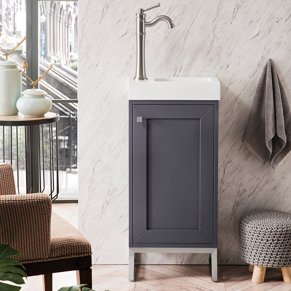 "James Martin Chianti Collection 16"" Single Vanity Cabinet, Mineral Grey"