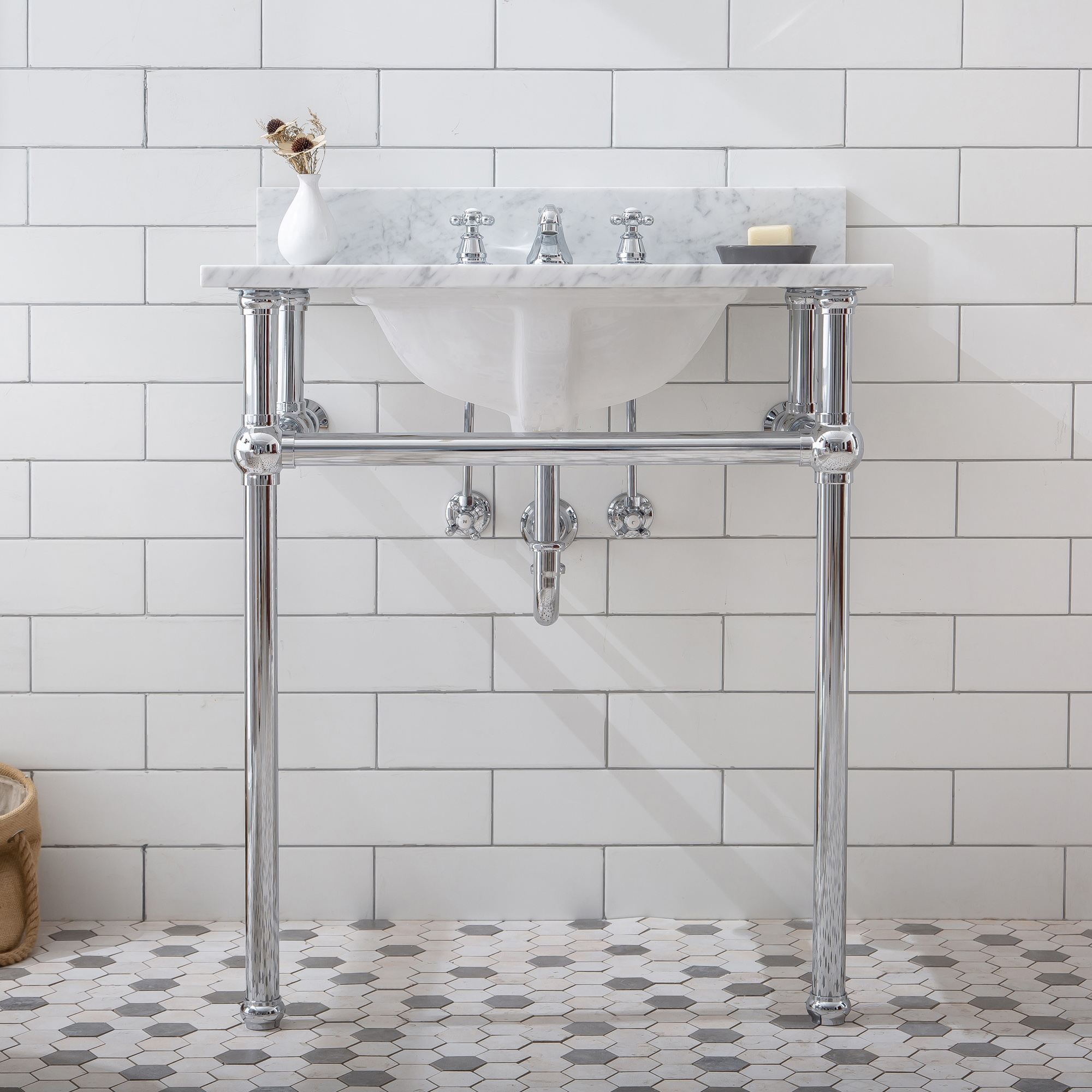 "30"" Wide Single Wash Stand Only in Chrome Finish"