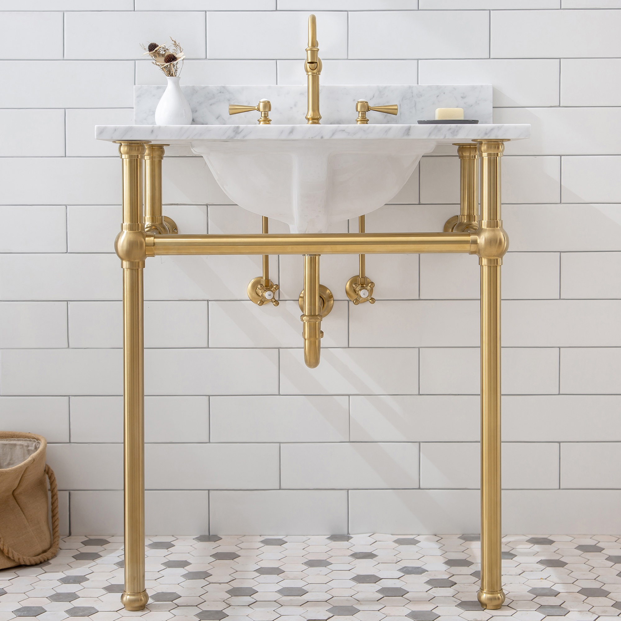"""30"""" Wide Single Wash Stand Only in Satin Gold Finish"""