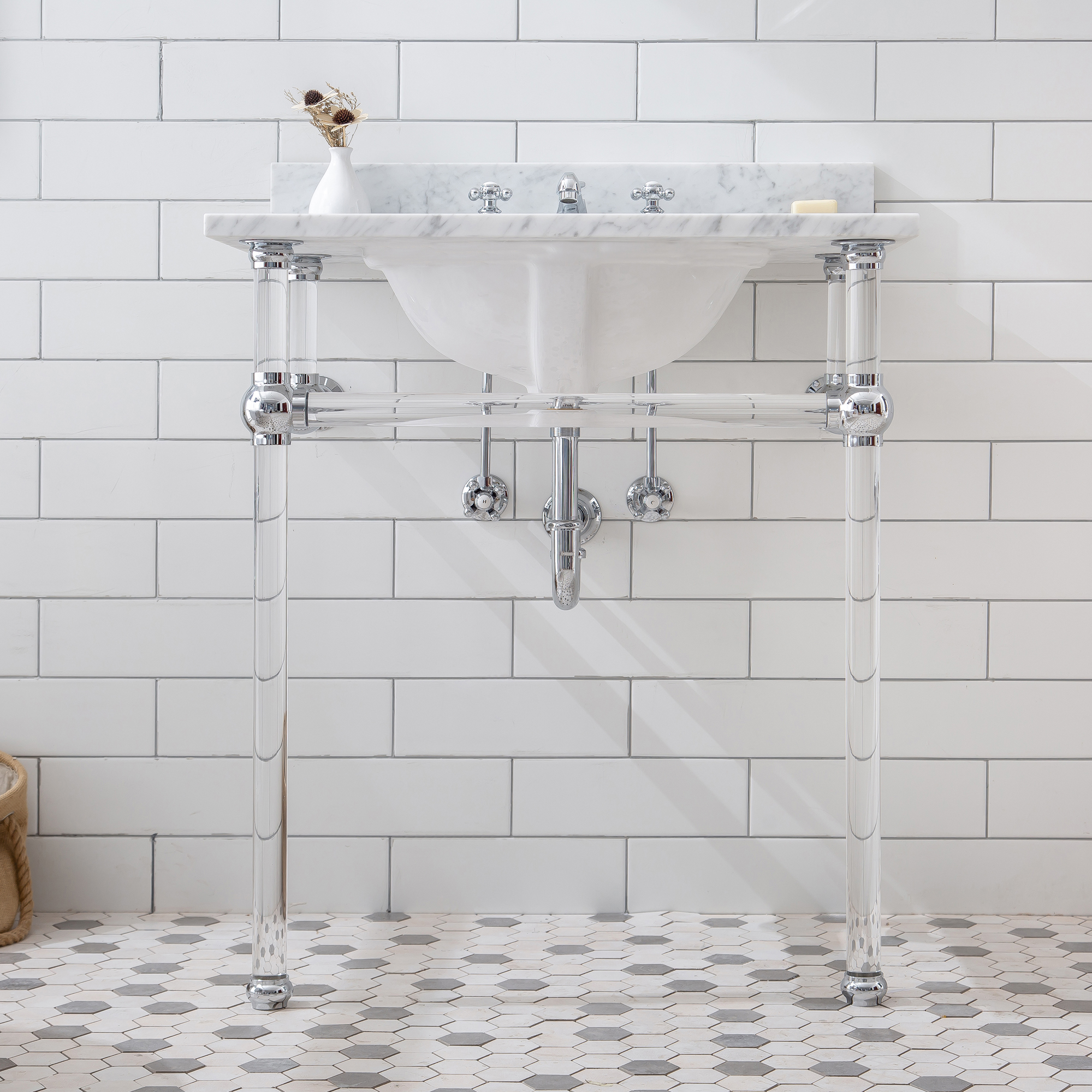 "30"" Wide Single Wash Stand Only with Chrome Finish"