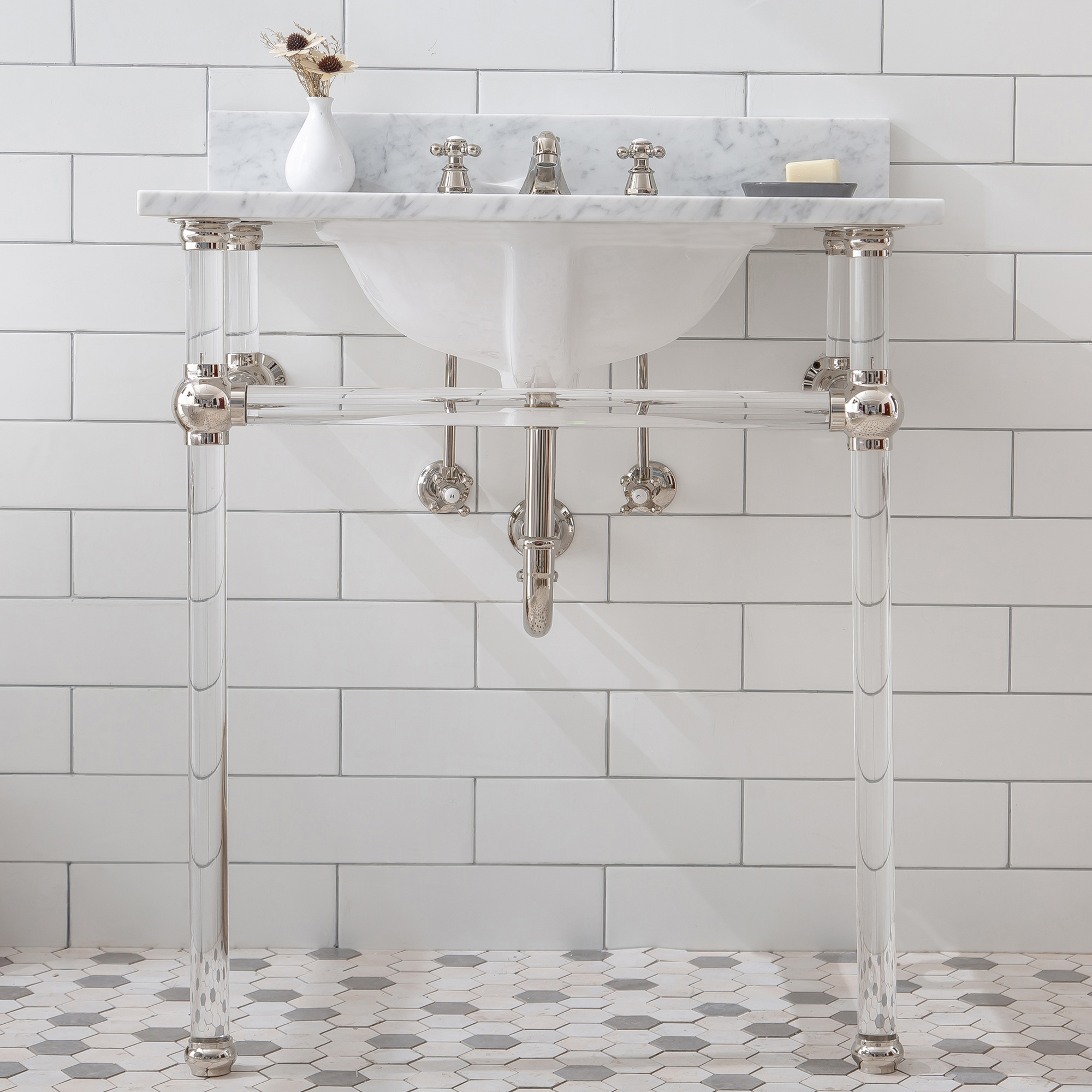 "30"" Wide Single Wash Stand Only with Polished Nickel (PVD) Finish"
