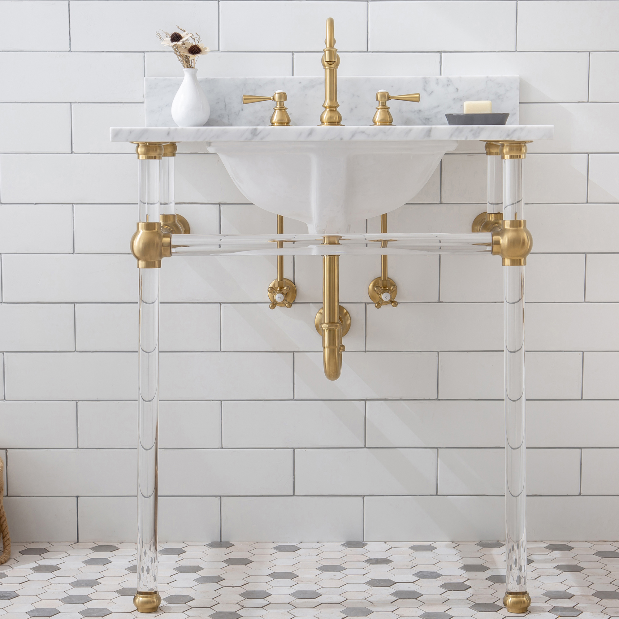 "30"" Wide Single Wash Stand Only with Satin Gold Finish"