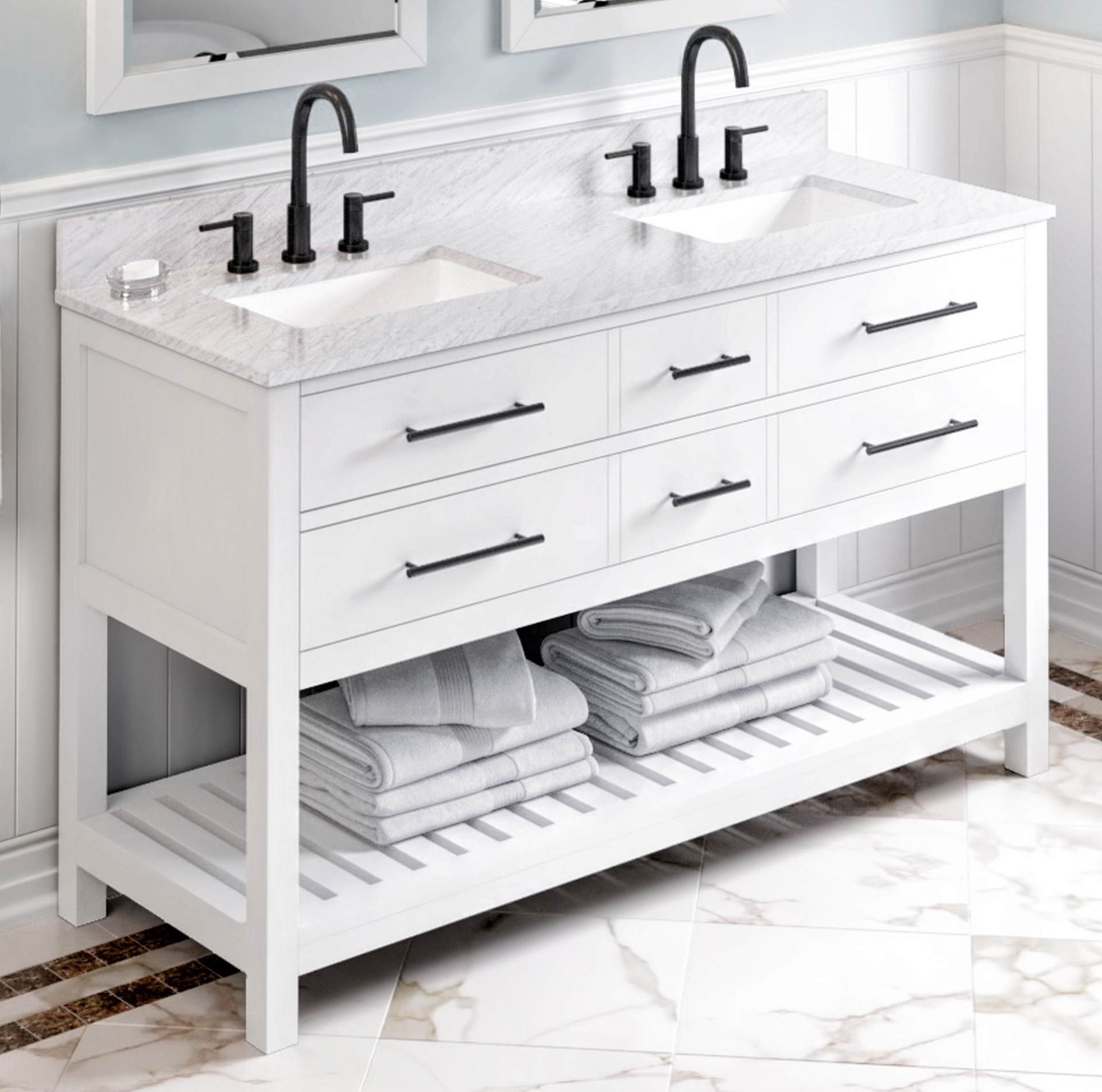 "60"" White Bathroom Vanity Double Bowl White Carrara Marble Vanity Top, Two Undermount Rectangle Bowls"