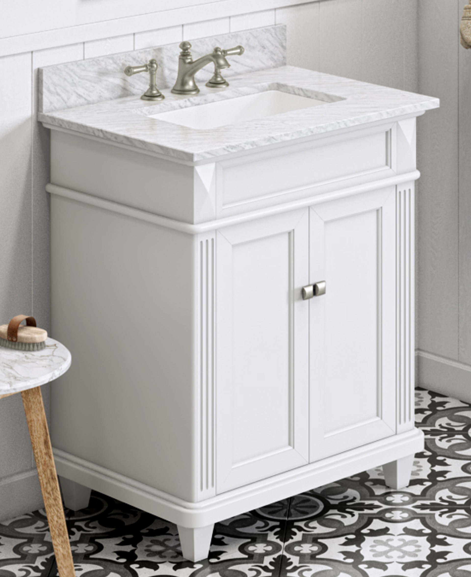 "30"" White Bathroom Vanity Single Sink White Carrara Marble Vanity Top, Undermount Rectangle Bowl"