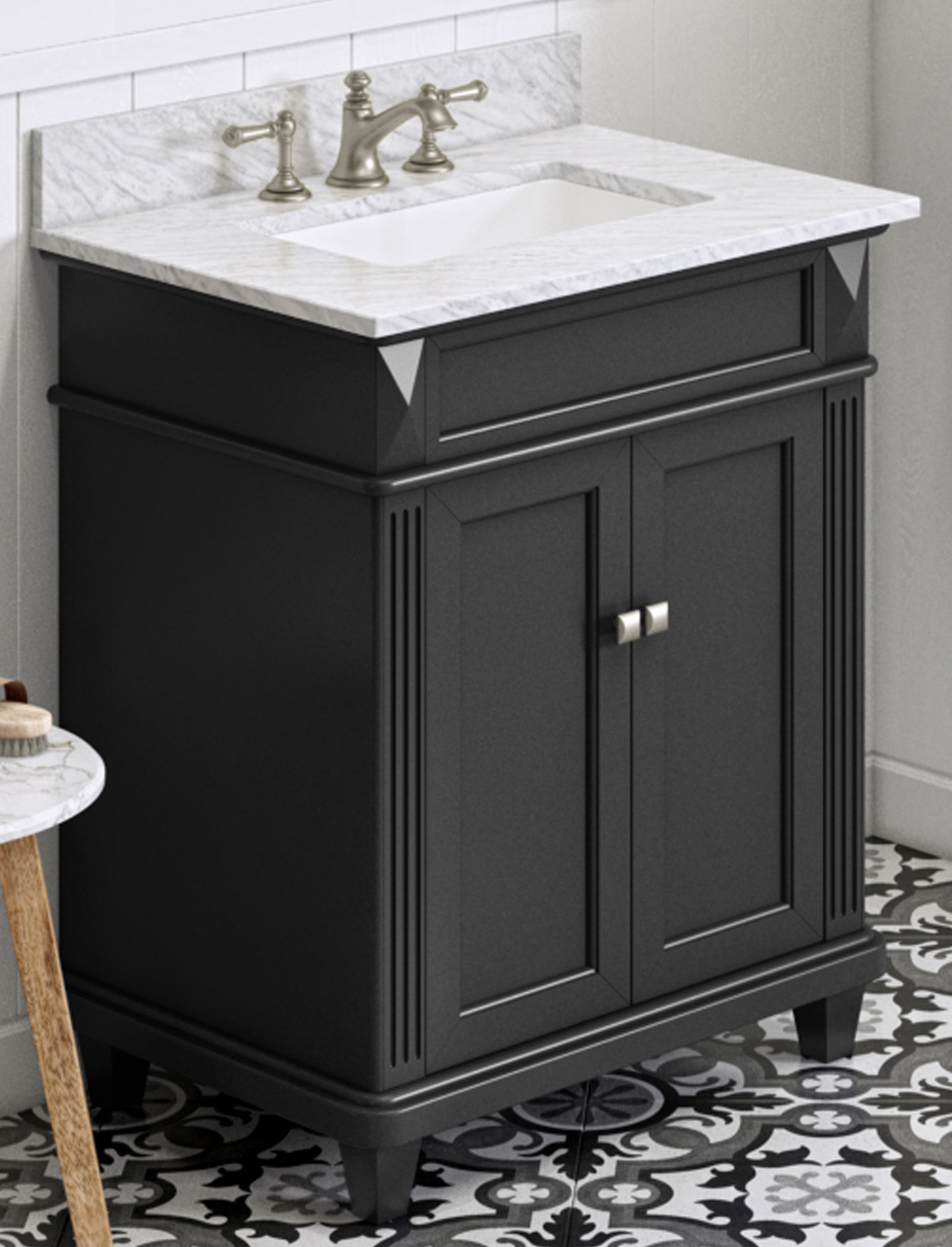 "30"" Black Bathroom Vanity Single Sink White Carrara Marble Vanity Top, Undermount Rectangle Bowl"