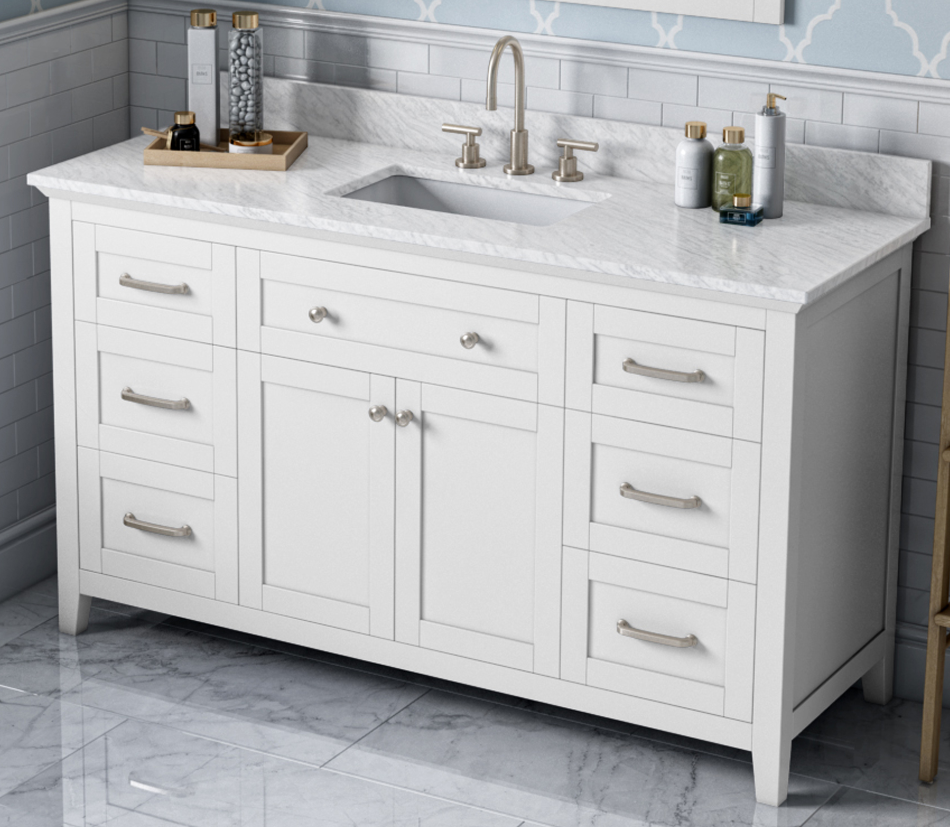 "60"" White Bathroom Vanity Single Sink White Carrara Marble Vanity Top, Undermount Rectangle Bowl"