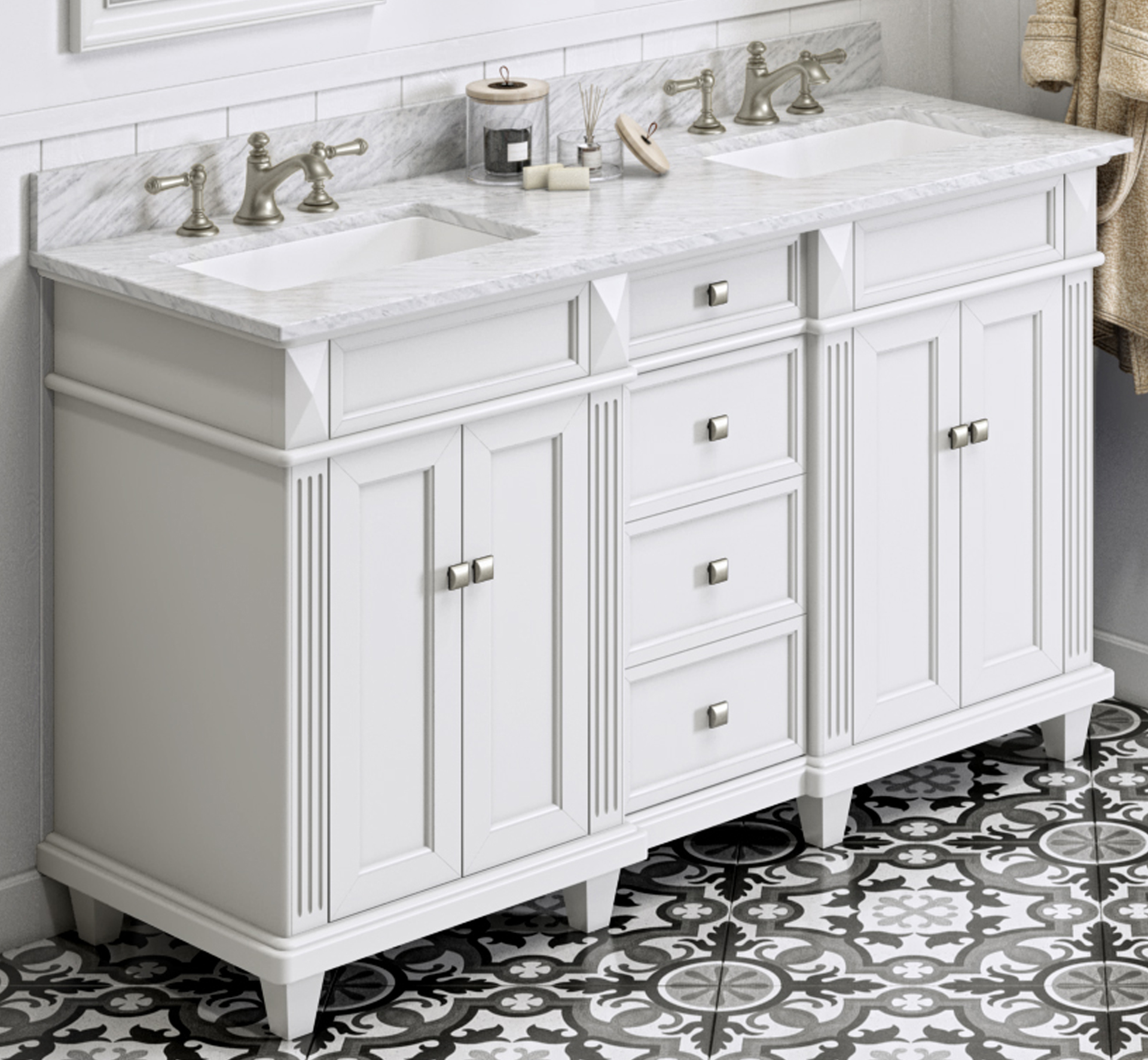 "60"" White Bathroom Vanity Double Bowl White Carrara Marble Vanity Top, Undermount Rectangle Bowl"