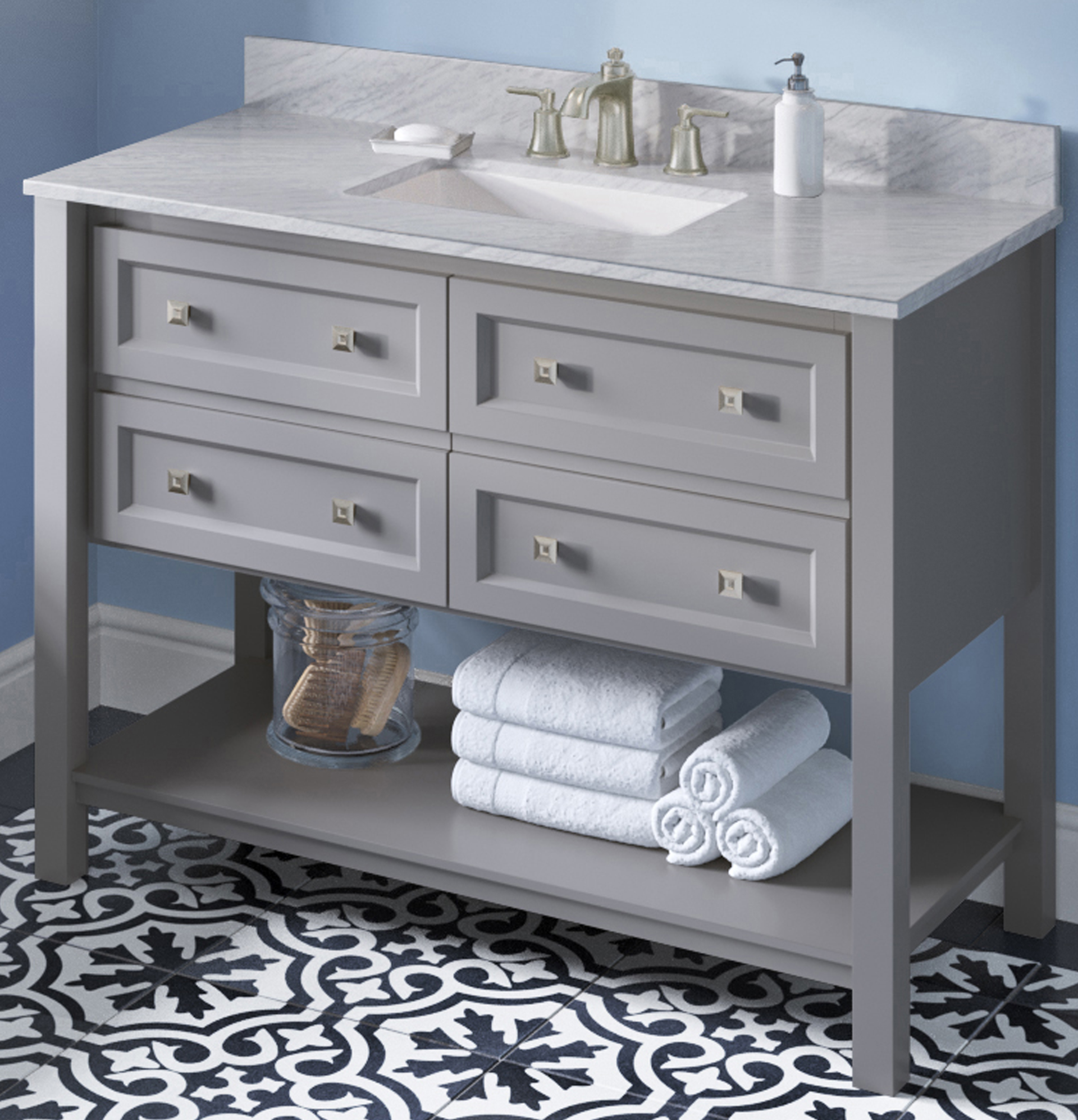 "48"" Grey Single Sink Bathroom Vanity White Carrara Marble Vanity Top, Undermount Rectangle Bowl"