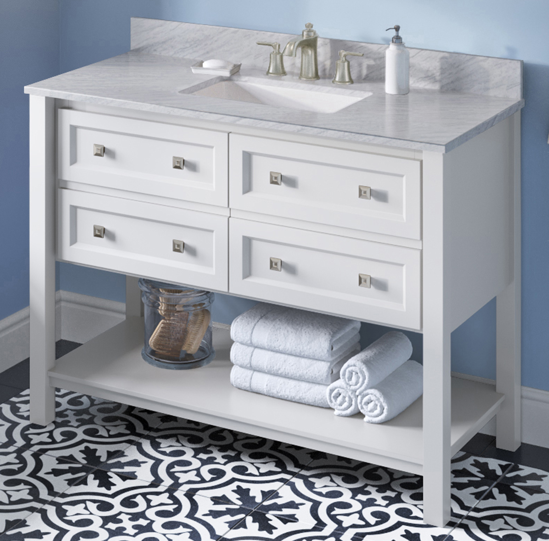 "48"" White Single Sink Bathroom Vanity White Carrara Marble Vanity Top, Undermount Rectangle Bowl"