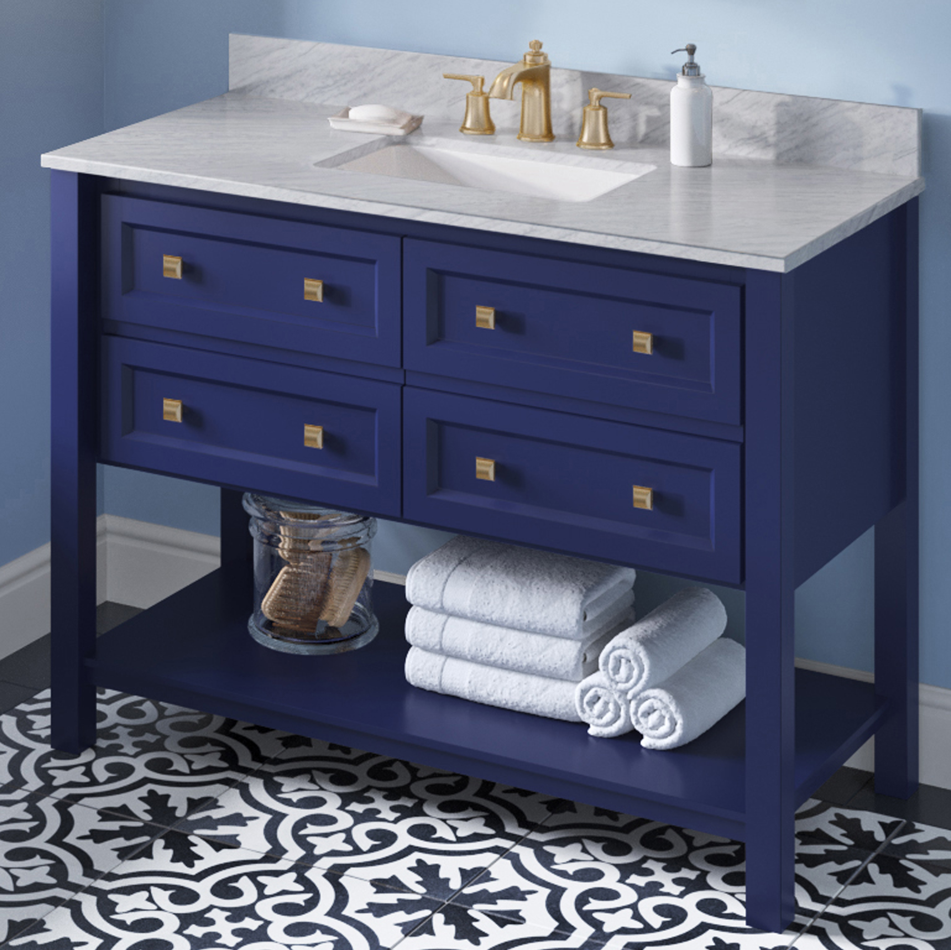 "48"" Hale Blue Single Sink Bathroom Vanity White Carrara Marble Vanity Top, Undermount Rectangle Bowl"
