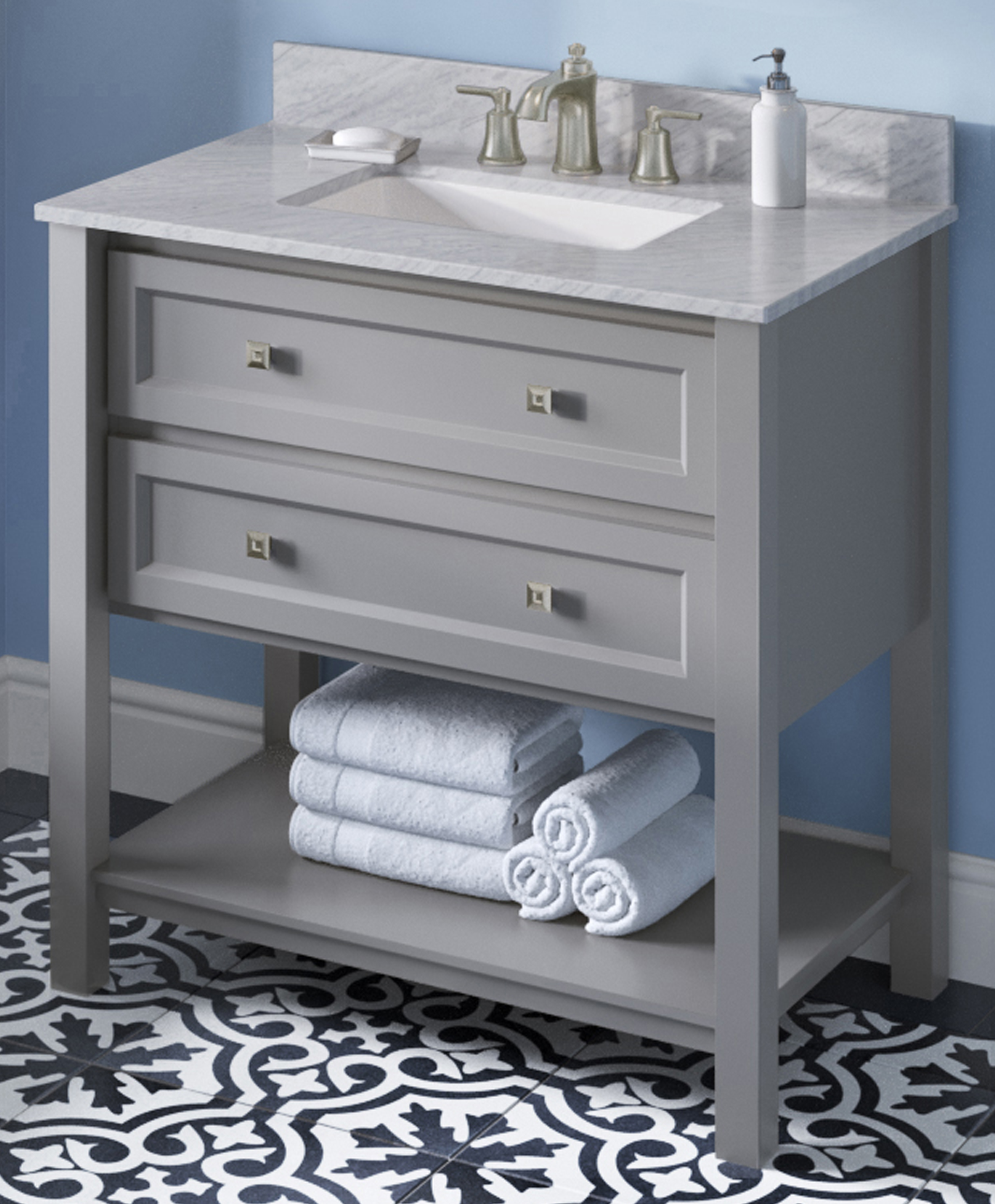 "36"" Grey Single Sink Bathroom Vanity White Carrara Marble Vanity Top, Undermount Rectangle Bowl"
