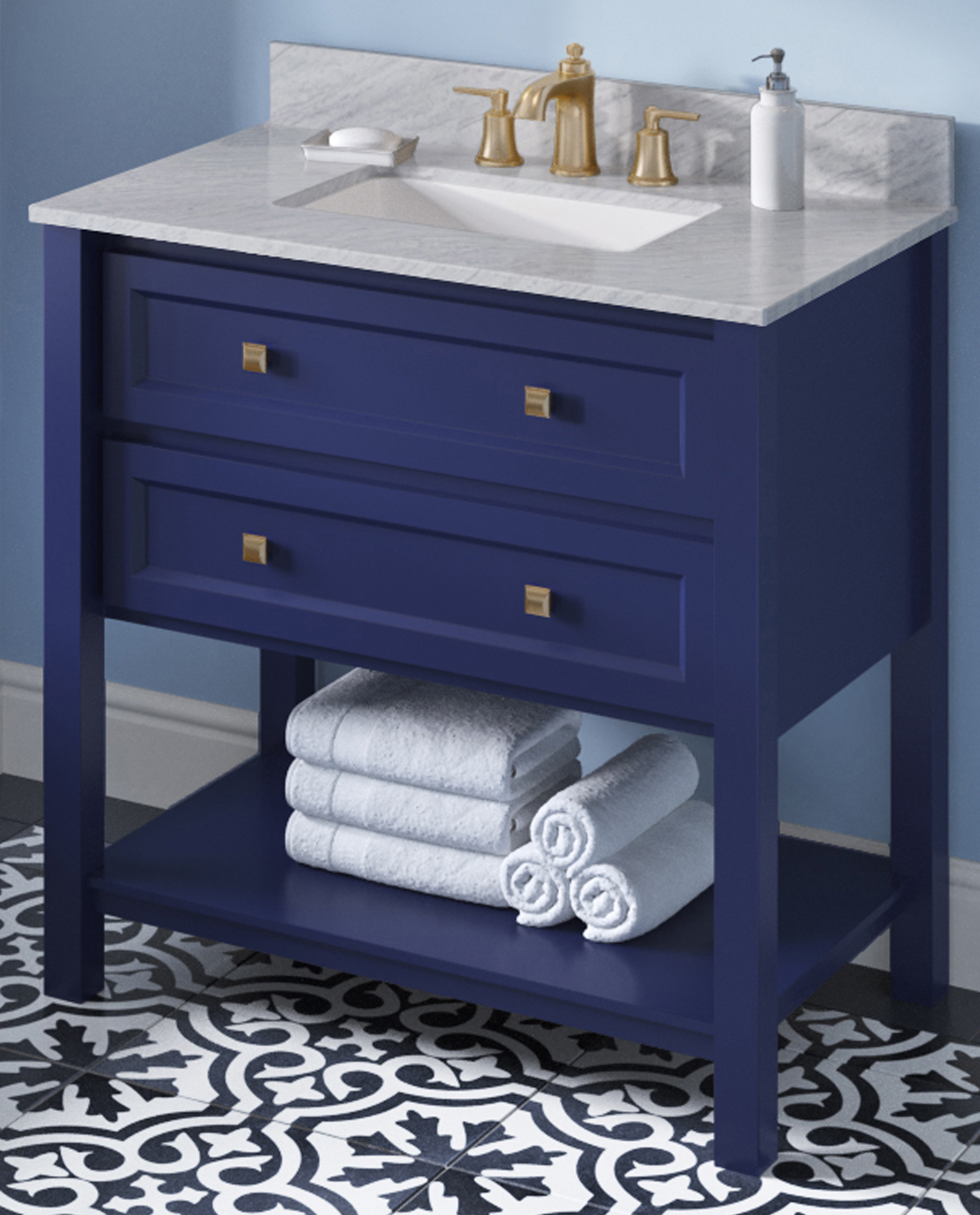 "36"" Hale Blue Single Sink Bathroom Vanity White Carrara Marble Vanity Top, Undermount Rectangle Bowl"