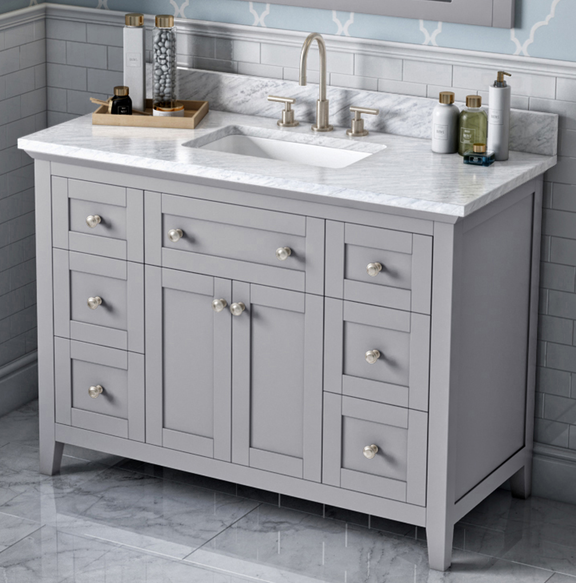 "48"" Single Sink Bathroom Vanity Grey Finish White Carrara Marble Vanity Top, Undermount Rectangle Bowl"