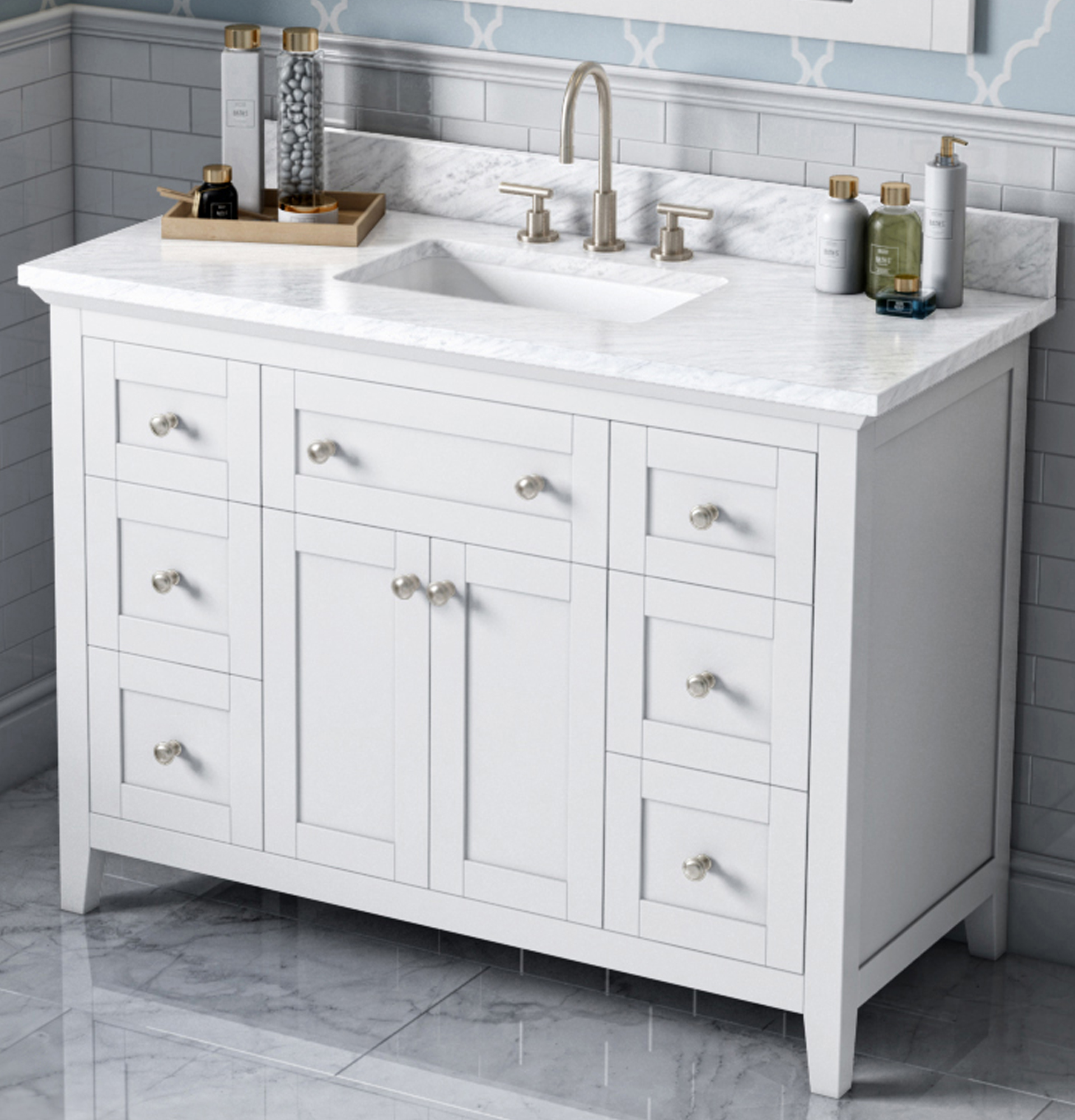 "48"" Single Sink Bathroom Vanity White Finish White Carrara Marble Vanity Top, Undermount Rectangle Bowl"