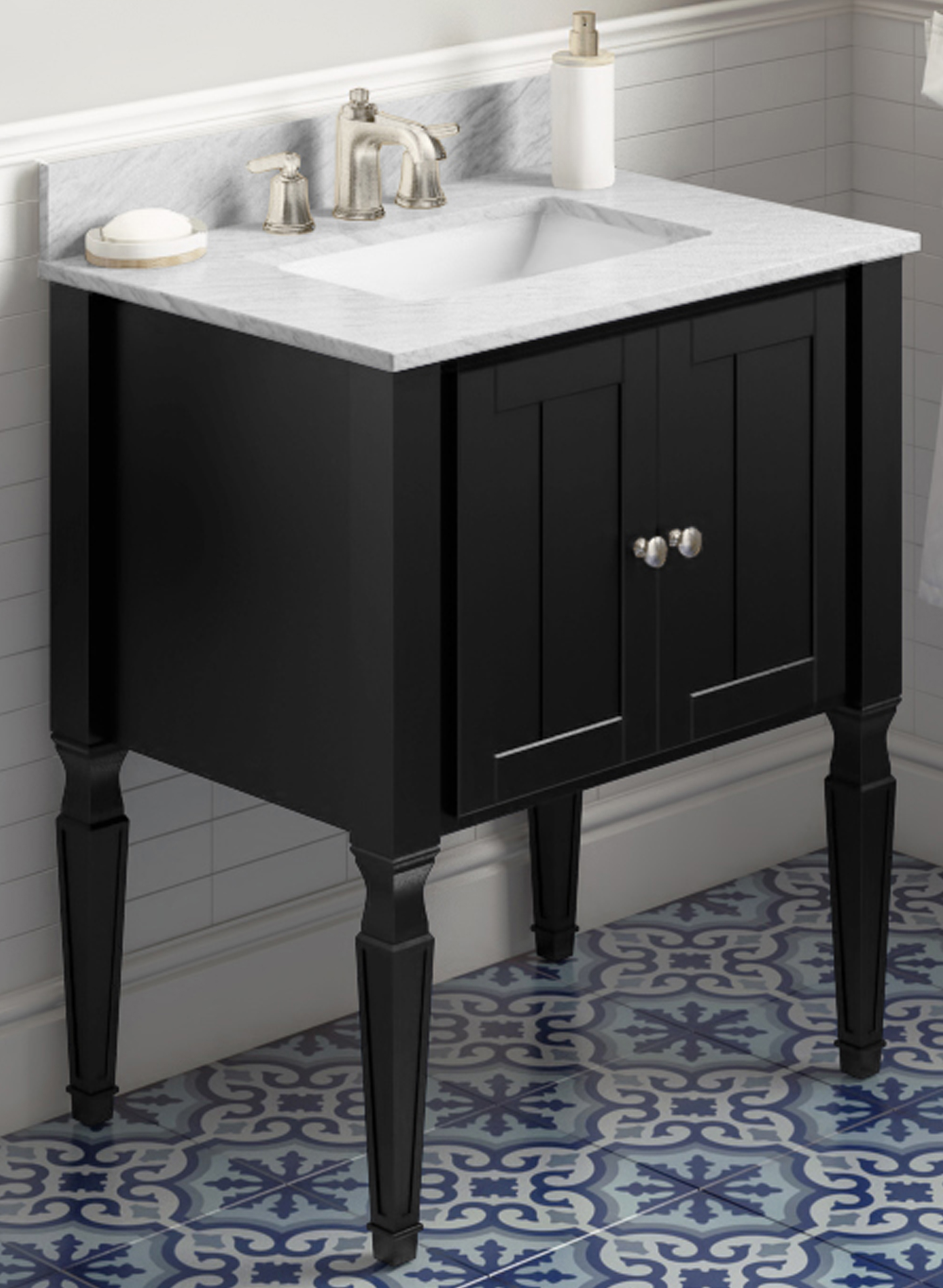 "30"" Single Sink Black Finish Bathroom Vanity White Carrara Marble Vanity Top, Undermount Rectangle Bowl"