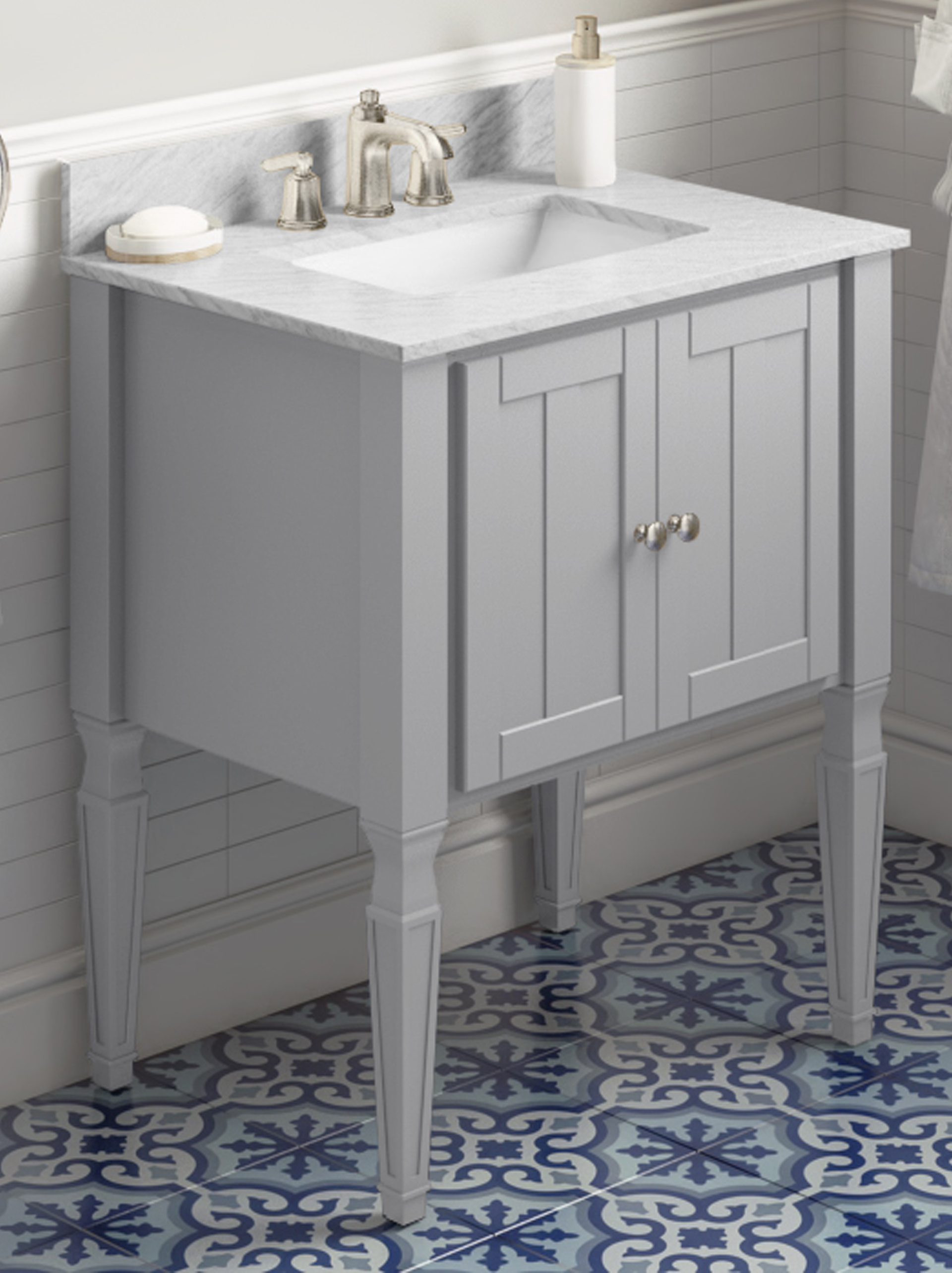 "30"" Single Sink Grey Finish Bathroom Vanity White Carrara Marble Vanity Top, Undermount Rectangle Bowl"