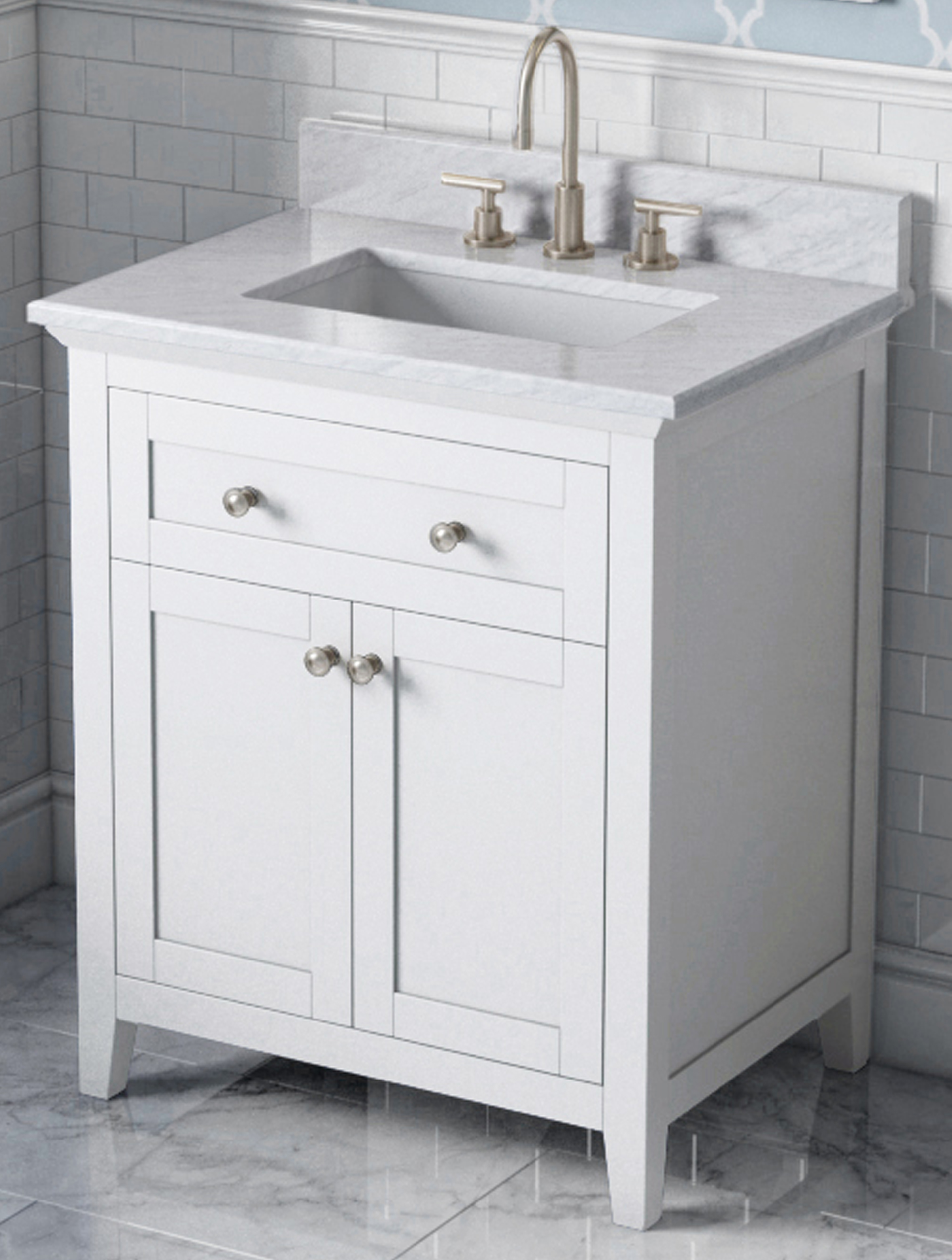 "30"" Single Sink White Bathroom Vanity White Carrara Marble Vanity Top, Undermount Rectangle Bowl"