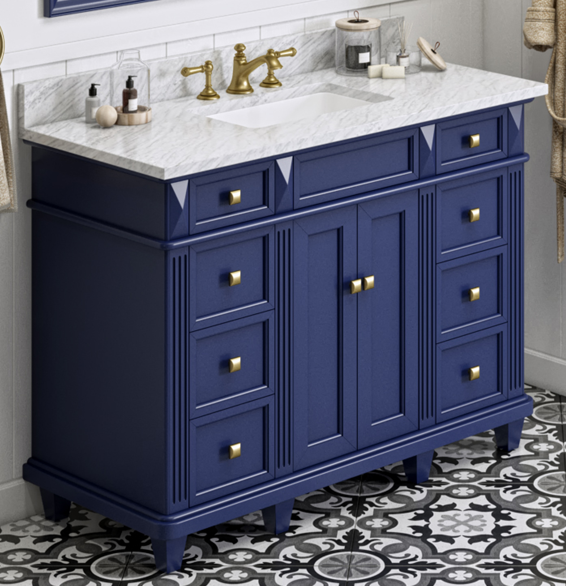 "48"" Hale Blue Vanity, White Carrara Marble Vanity Top, Undermount Rectangle Bowl"