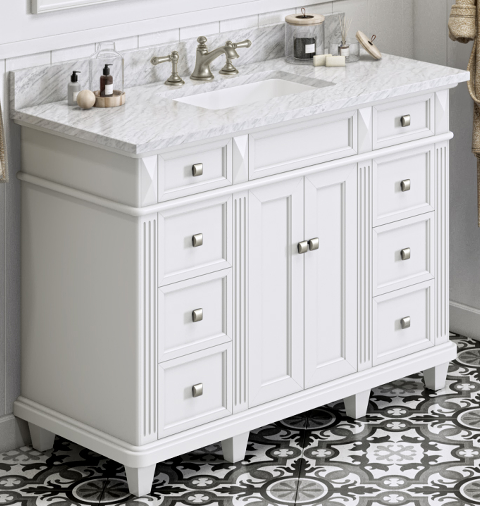 "48"" White Vanity, White Carrara Marble Vanity Top, Undermount Rectangle Bowl"