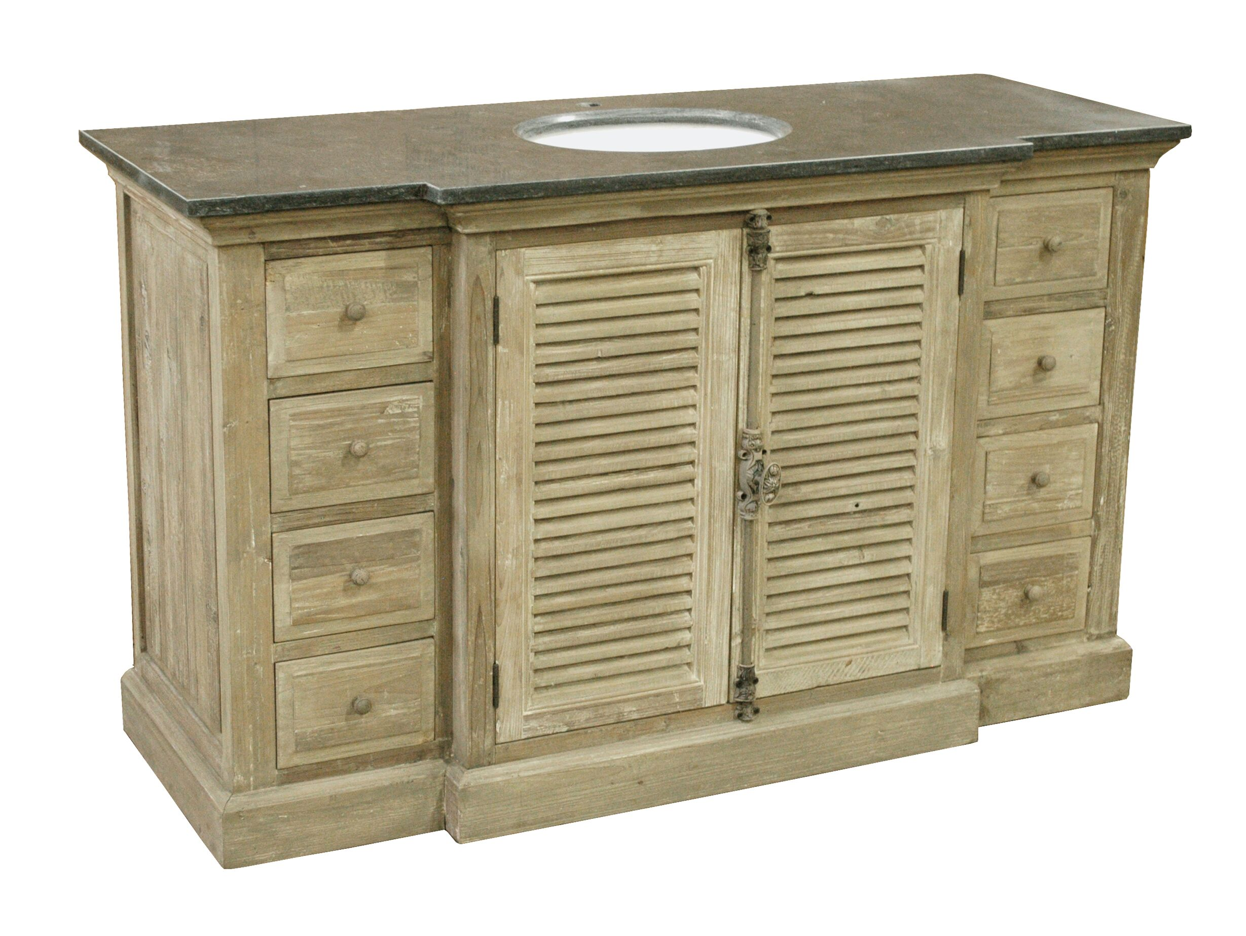 "59"" Handcrafted Reclaimed Pine Breakfront Solid Wood Single Bath Vanity"