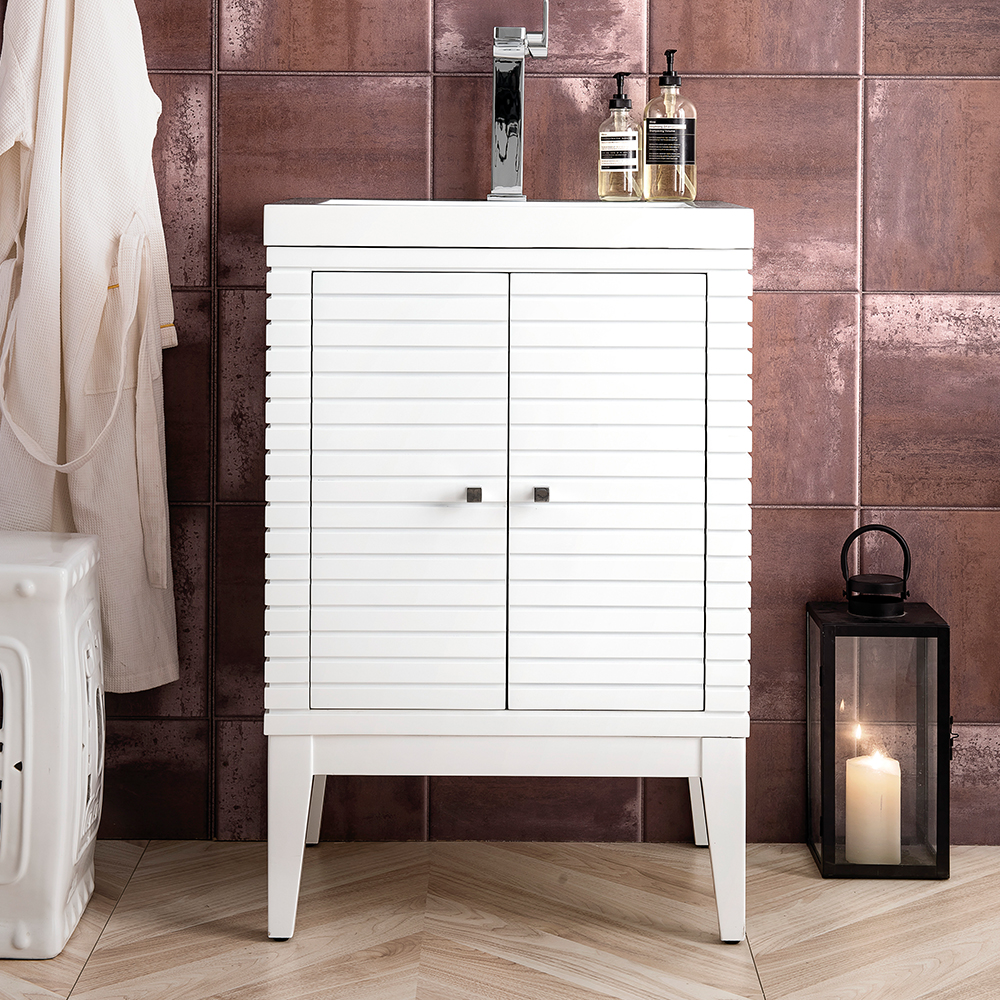 "James Martin Linden Collection 24"" Single Vanity Cabinet, Glossy White"