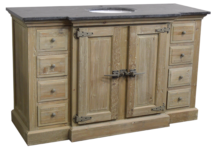 "59"" Handcrafted Reclaimed Pine Solid Wood Single Fridgey Breakfront Bath Vanity Wash Finish"