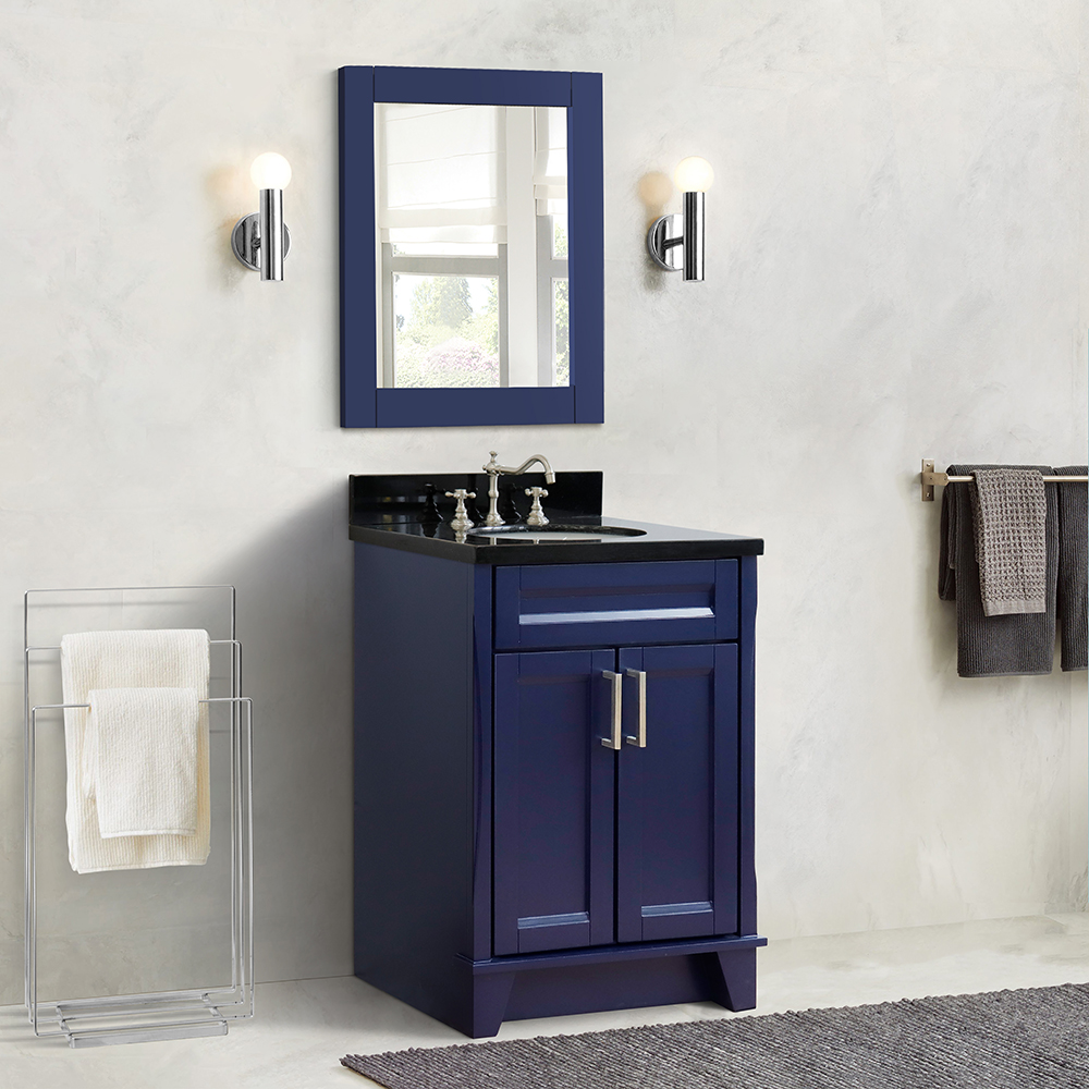 "25"" Single Sink Vanity in Blue Finish with Counter Top and Sink Options"