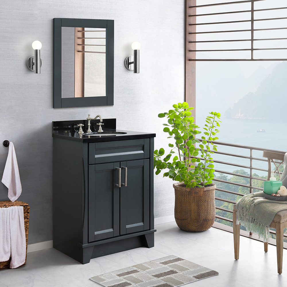 """25"""" Single Sink Vanity in Dark Gray Finish with Counter Top and Sink Options"""