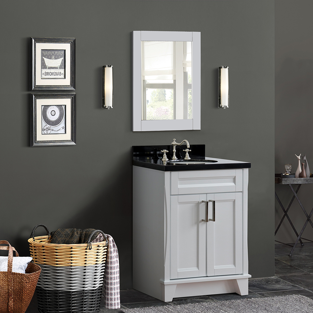 """25"""" Single Sink Vanity in White Finish with Counter Top and Sink Options"""