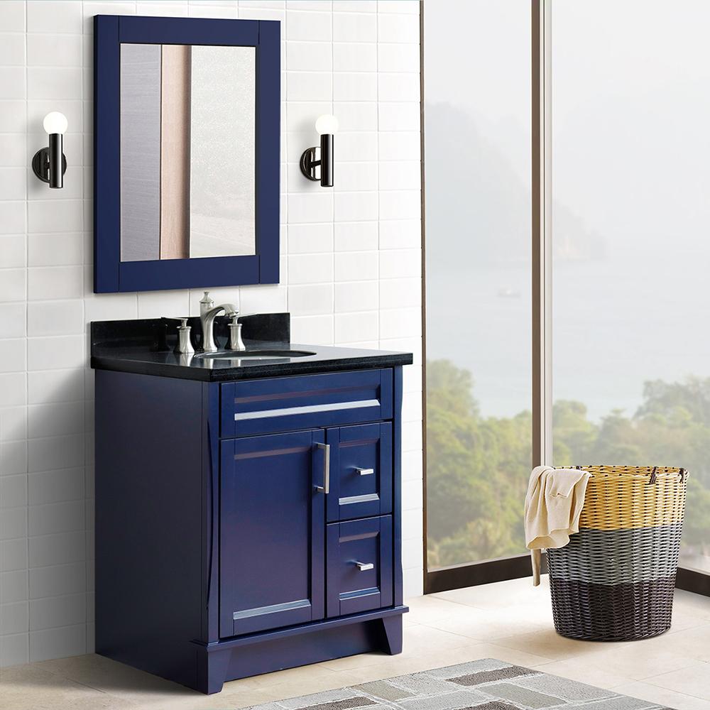 "31"" Single Sink Vanity in Blue Finish with Countertop and Sink Options"