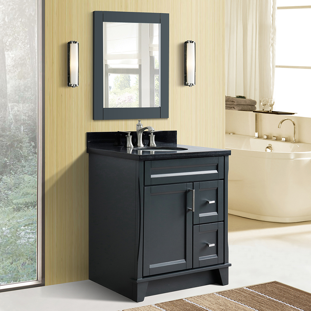 "31"" Single Sink Vanity in Dark Gray Finish with Countertop and Sink Options"