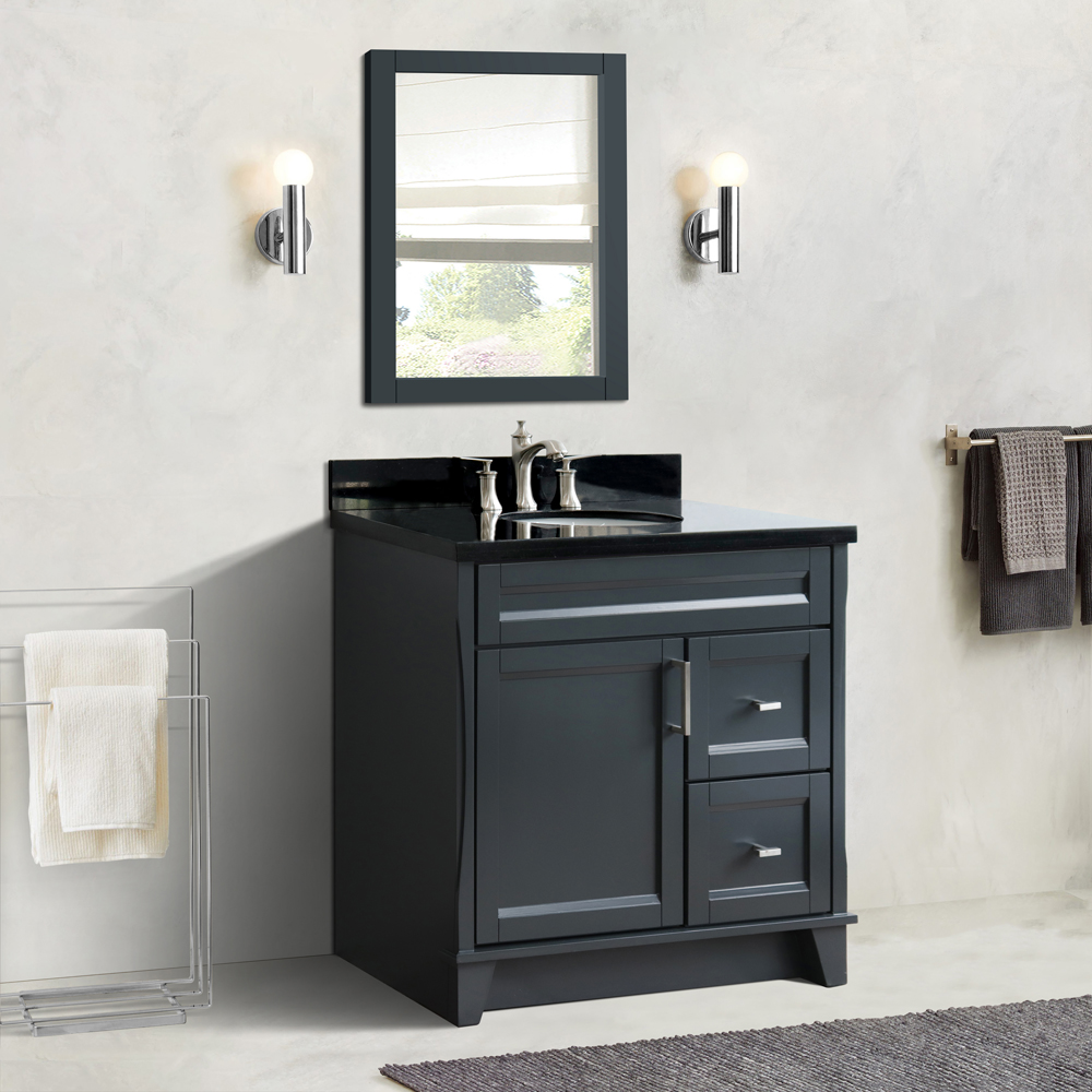 "37"" Single Sink Vanity in Dark Gray Finish with Countertop and Sink Options - LEFT Drawers"