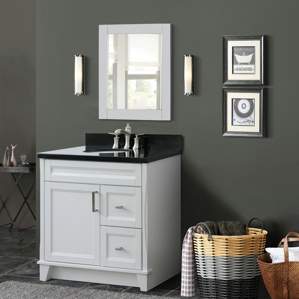 "37"" Single Sink Vanity in White Finish with Countertop and Sink Options - LEFT Drawers"