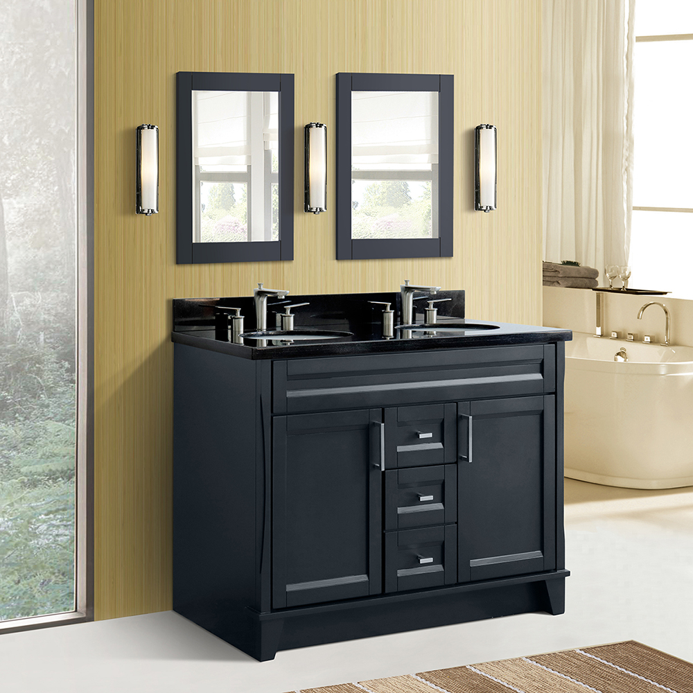 "48"" Double Sink Vanity in Dark Gray Finish with Countertop and Sink Options"