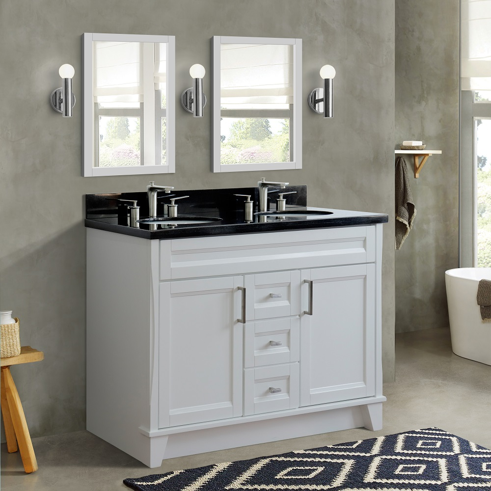 "48"" Double Sink Vanity in White Finish with Countertop and Sink Options"