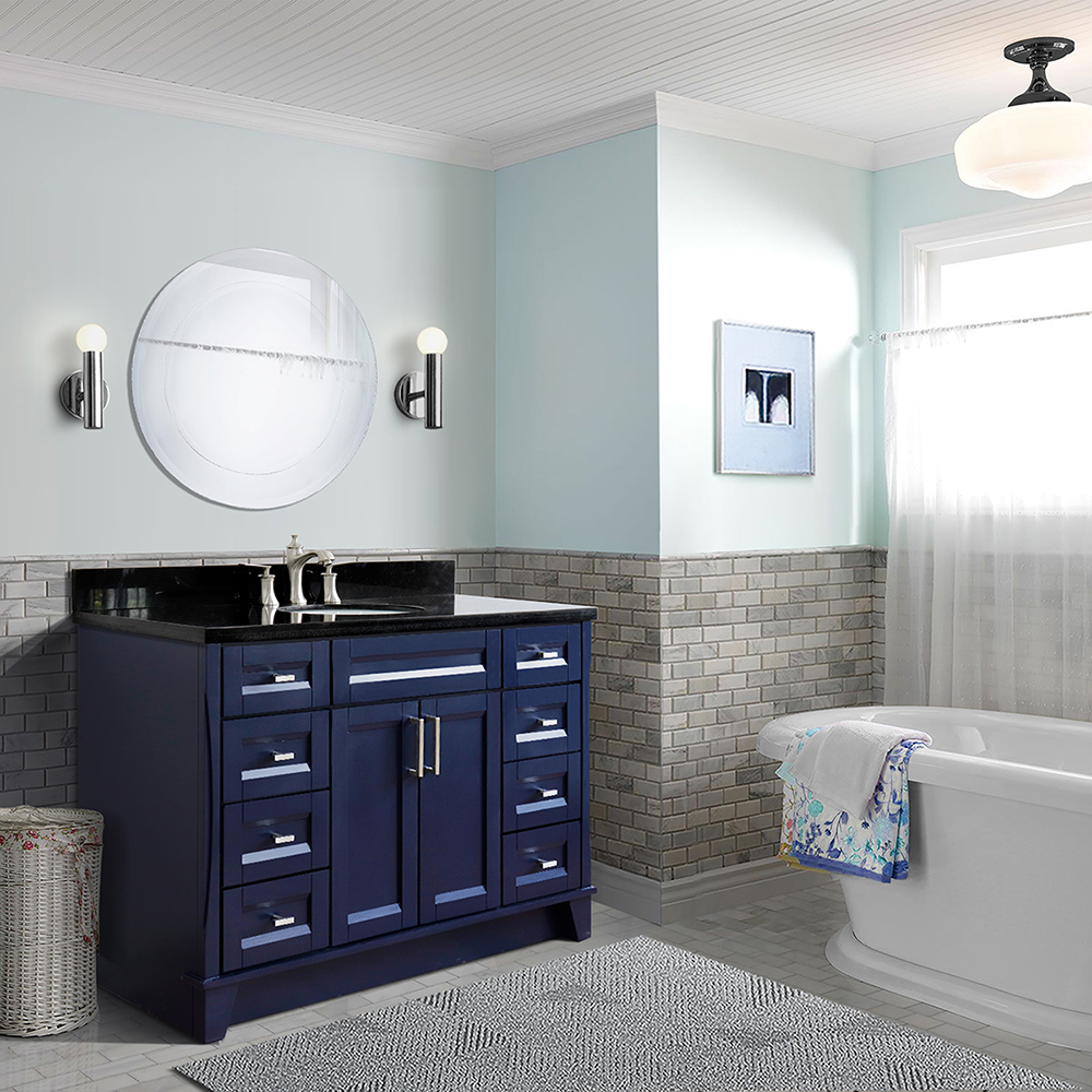 "49"" Single Sink Vanity in Blue Finish with Countertop and Sink Options"