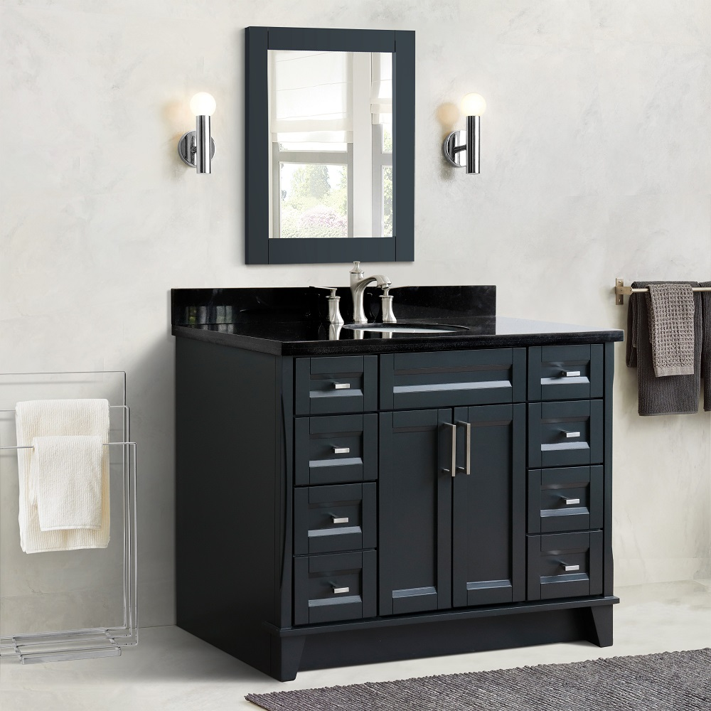 "49"" Single Sink Vanity in Dark Gray Finish with Countertop and Sink Options"
