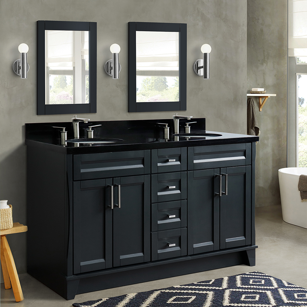"61"" Double Sink Vanity in Dark Gray Finish with Countertop and Sink Options"