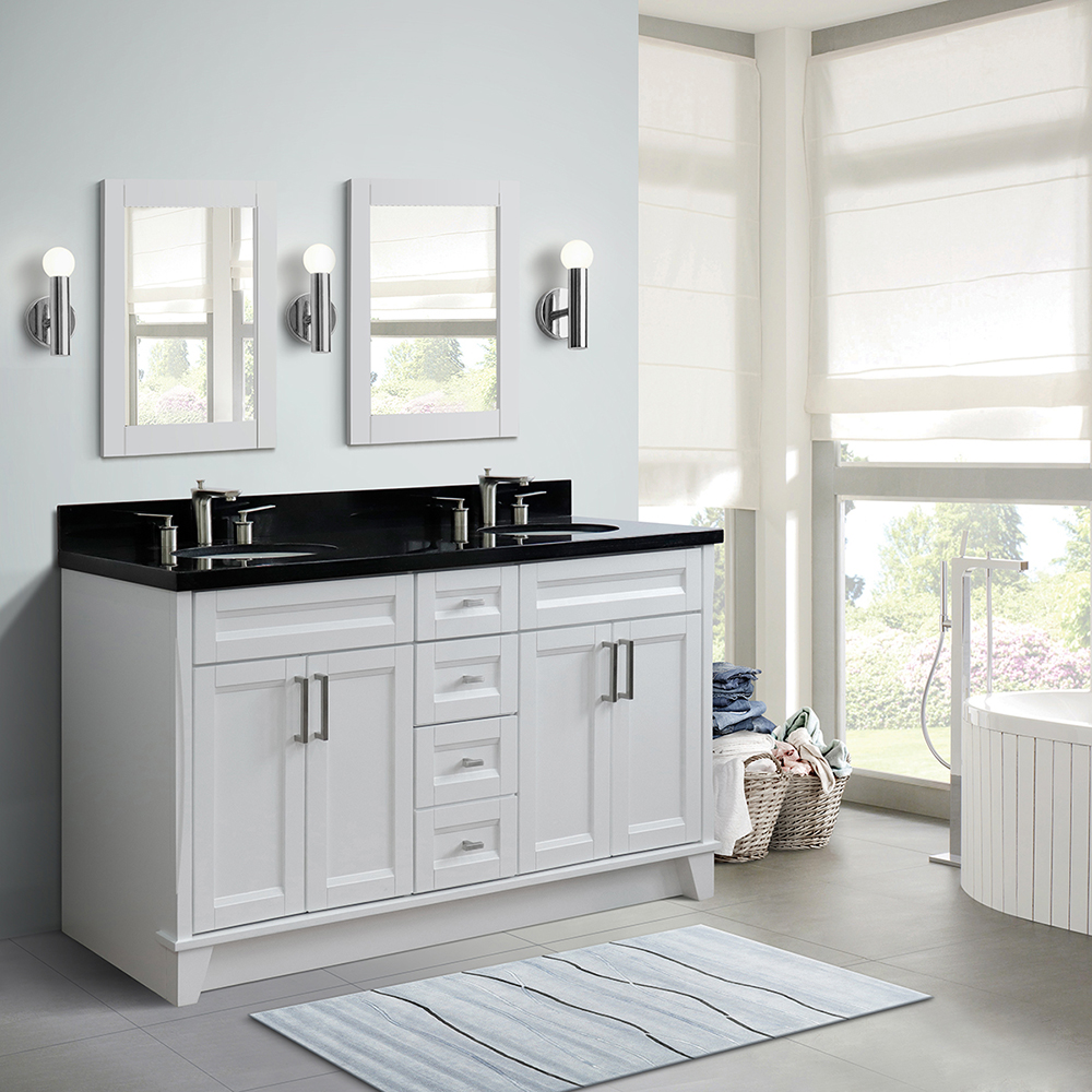 "61"" Double Sink Vanity in White Finish with Countertop and Sink Options"