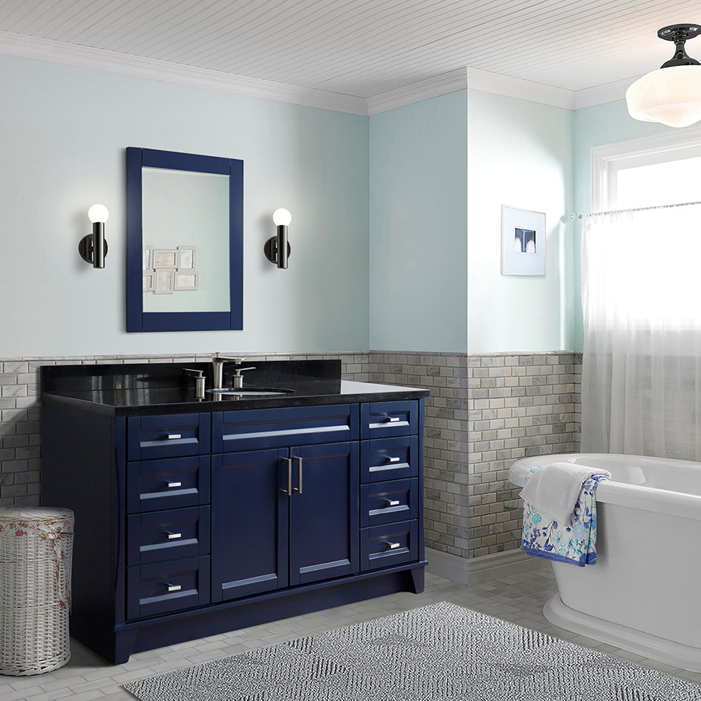 "61"" Single Sink Vanity in Blue Finish with Countertop and Sink Options"