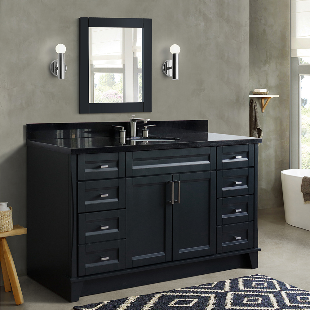 "61"" Single Sink Vanity in Dark Gray Finish with Countertop and Sink Options"